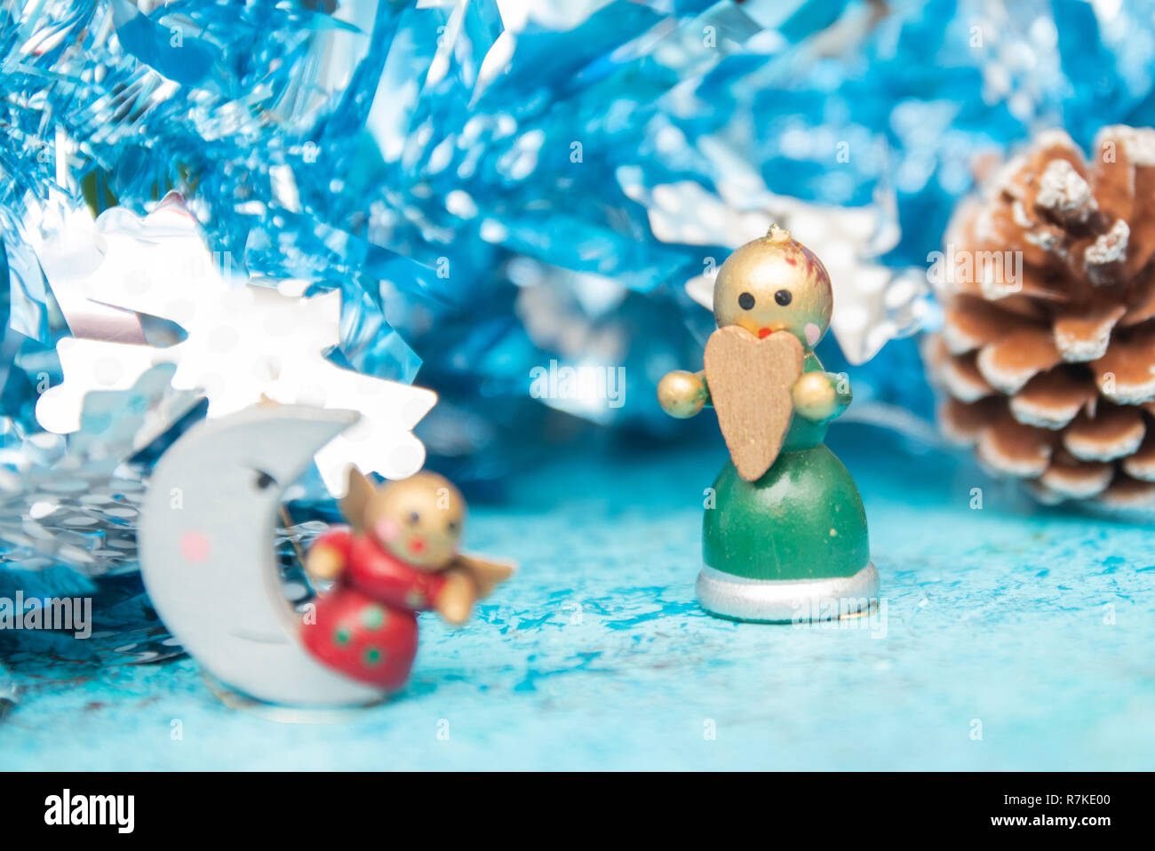 Christmas Holidays Images.Composition Christmas Holidays Christmas Toys On A Blue
