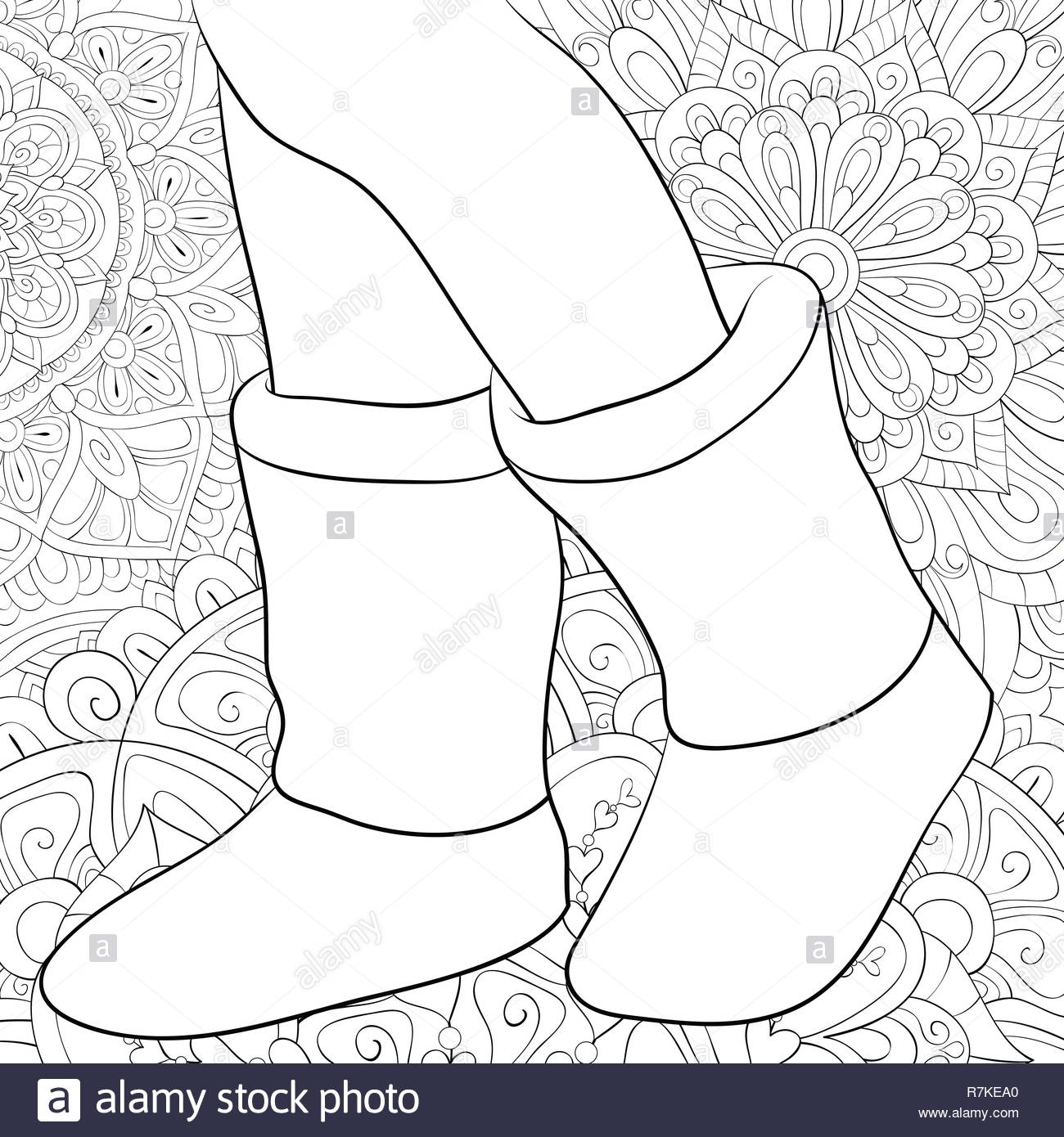 A Cute Pair Of Boots On The Floral Abstract Background Image For