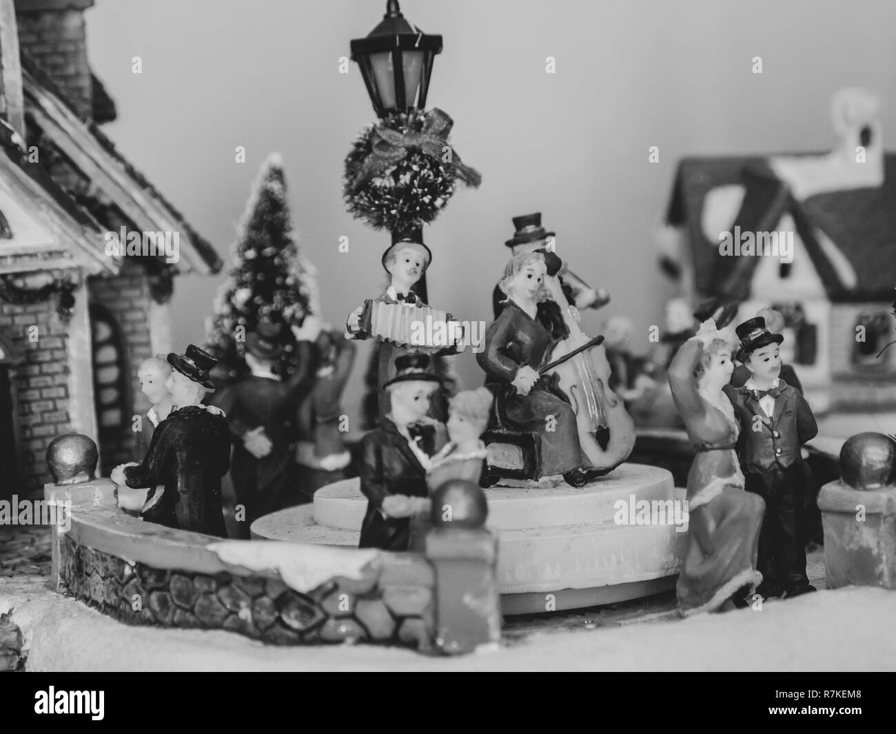 Christmas Macro Background,  figurines, holiday figures of plastic, miniatures. - Stock Image