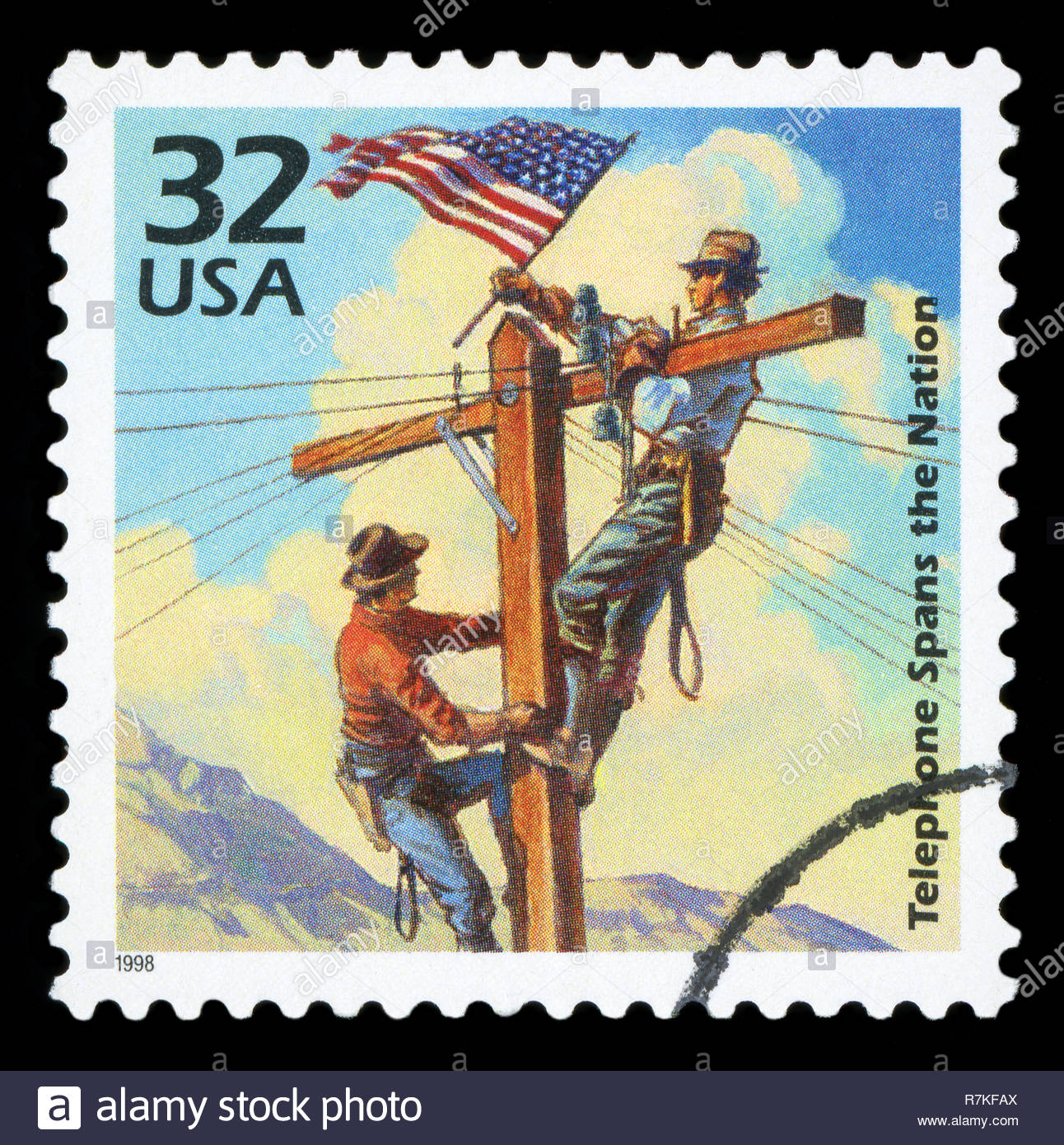 UNITED STATES OF AMERICA - CIRCA 1998: A stamp printed in USA shows First transcontinental telephone line, 1914, series Celebrate the Century, 1910s, - Stock Image
