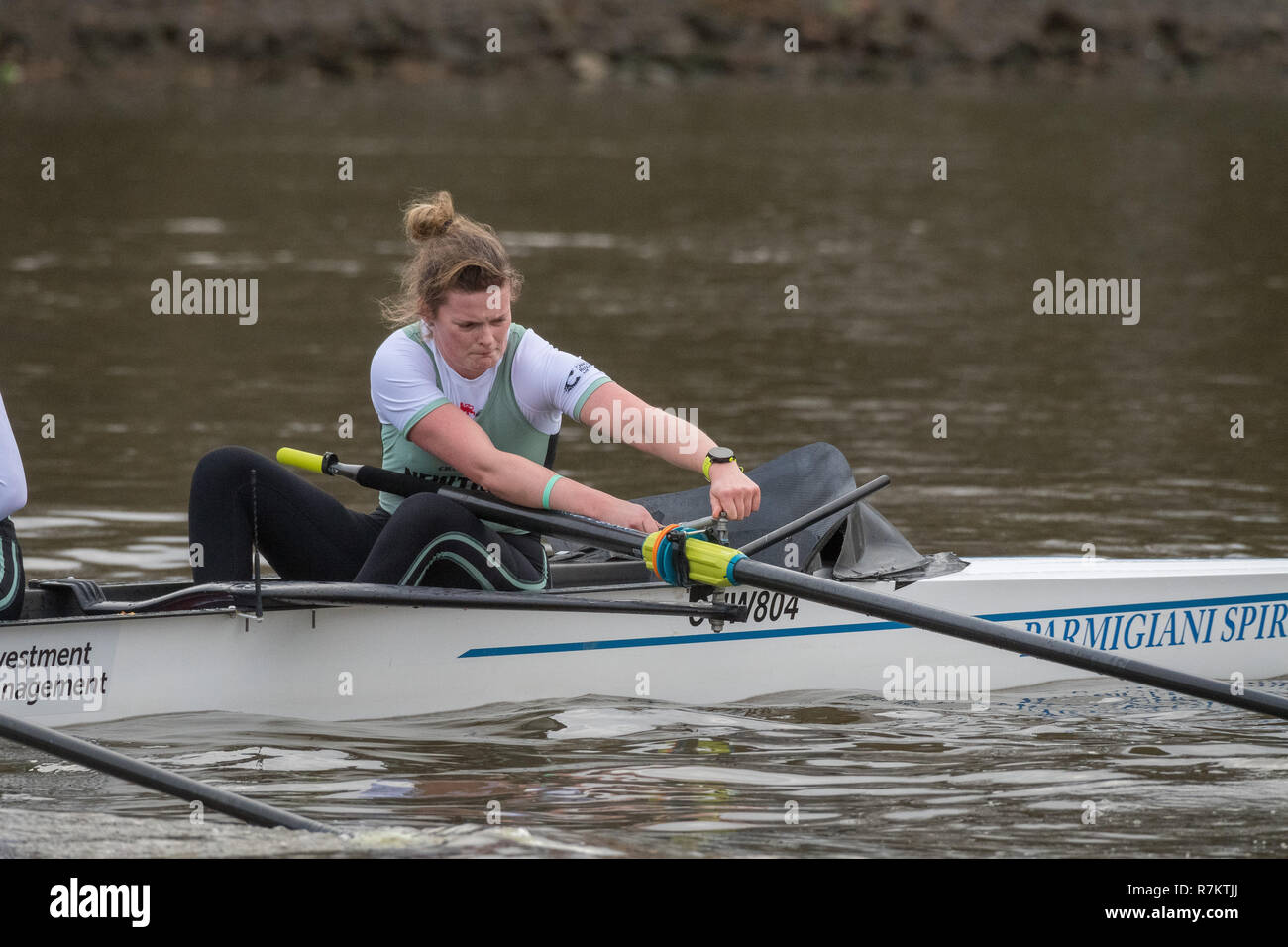 London, UK. 10th December 2018. Boat Race Trial VIIIs (Eights) are the only opportunity either side have to race the full course from Putney to Mortlake with the Race Umpires, so provide an important test for rowers and coxes alike.  They allow coaching teams to analyse the progression and potential and are often influential in final selection of crews for the Blue Boats.  The first Trial Eights race was staged by Oxford 153 years ago in 1859 and Cambridge joined the tradition three years later in 1862.  This year CUWBC have chosen to name their crews after two Nobel Prize winning women, Marie Stock Photo
