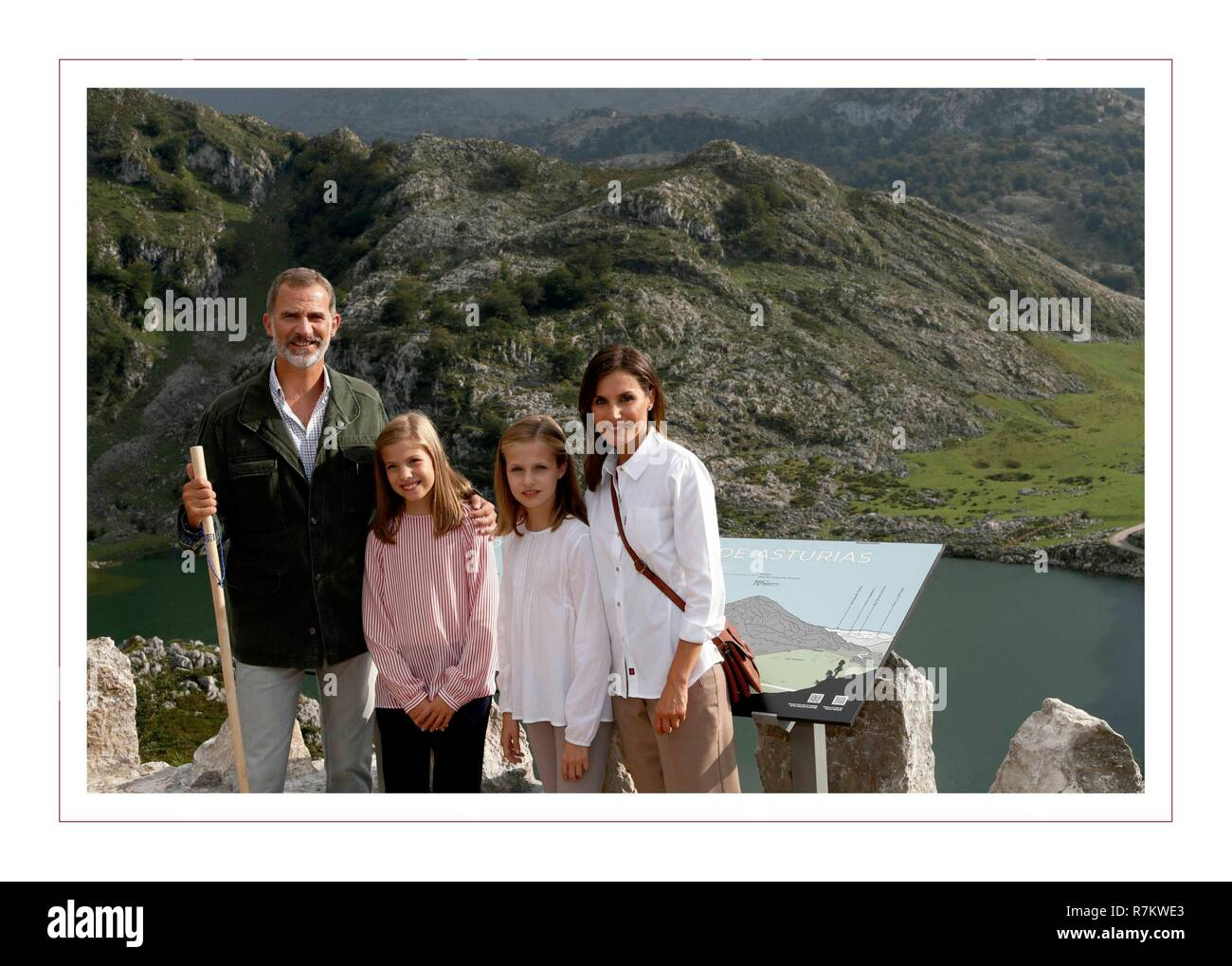 Spanish Kings Felipe VI and Letizia Ortiz with their daughters the Princess Leonor and the Infanta Sofia during a Christmas card.  10/12/2018 Stock Photo