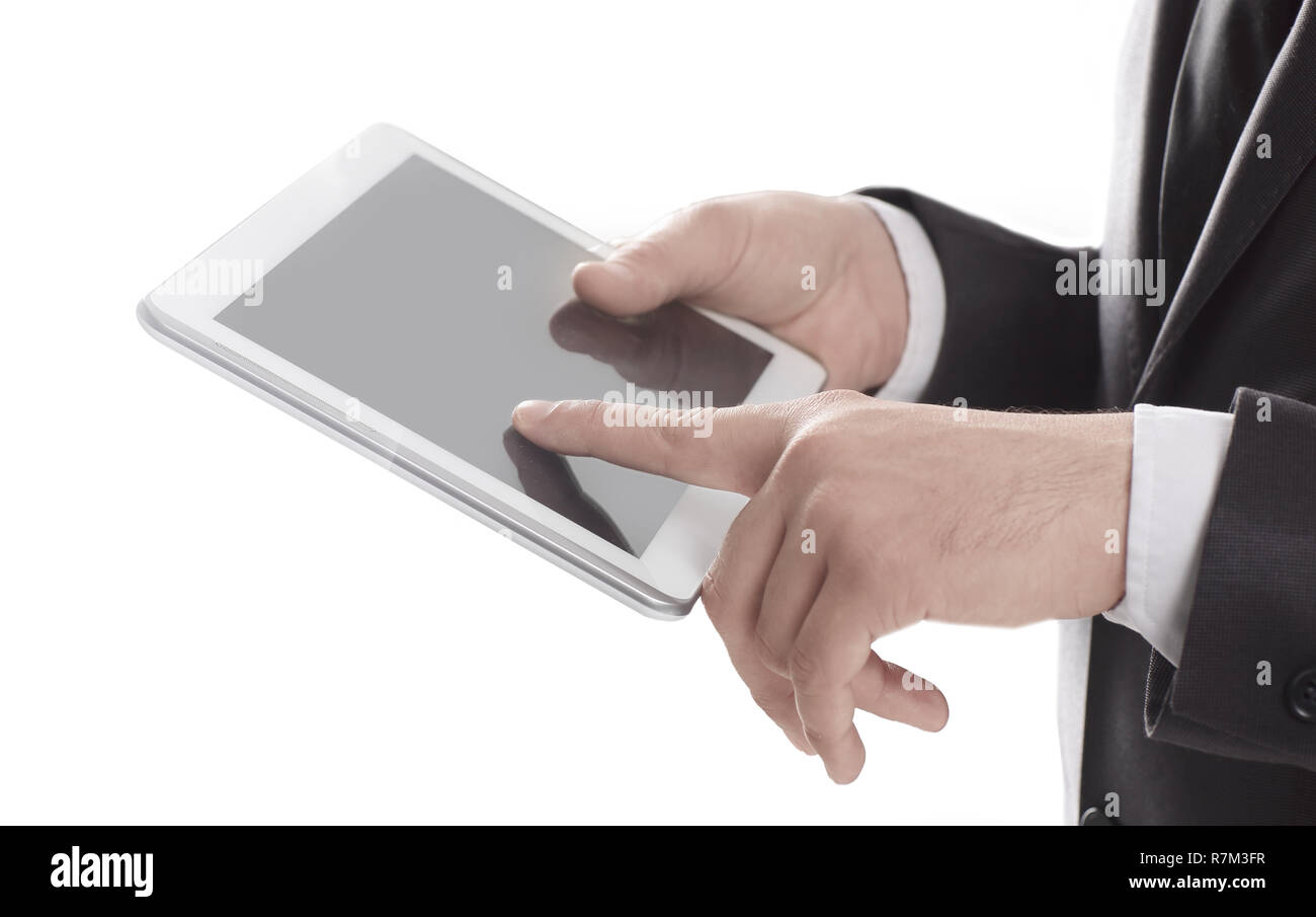 close up.businessman tapping on the screen of digital tablet - Stock Image