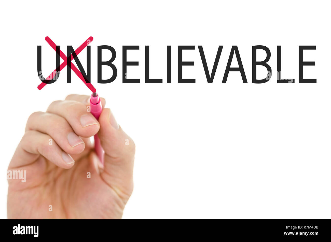 Changing word unbelievable into believable by crossing off letters un. Stock Photo