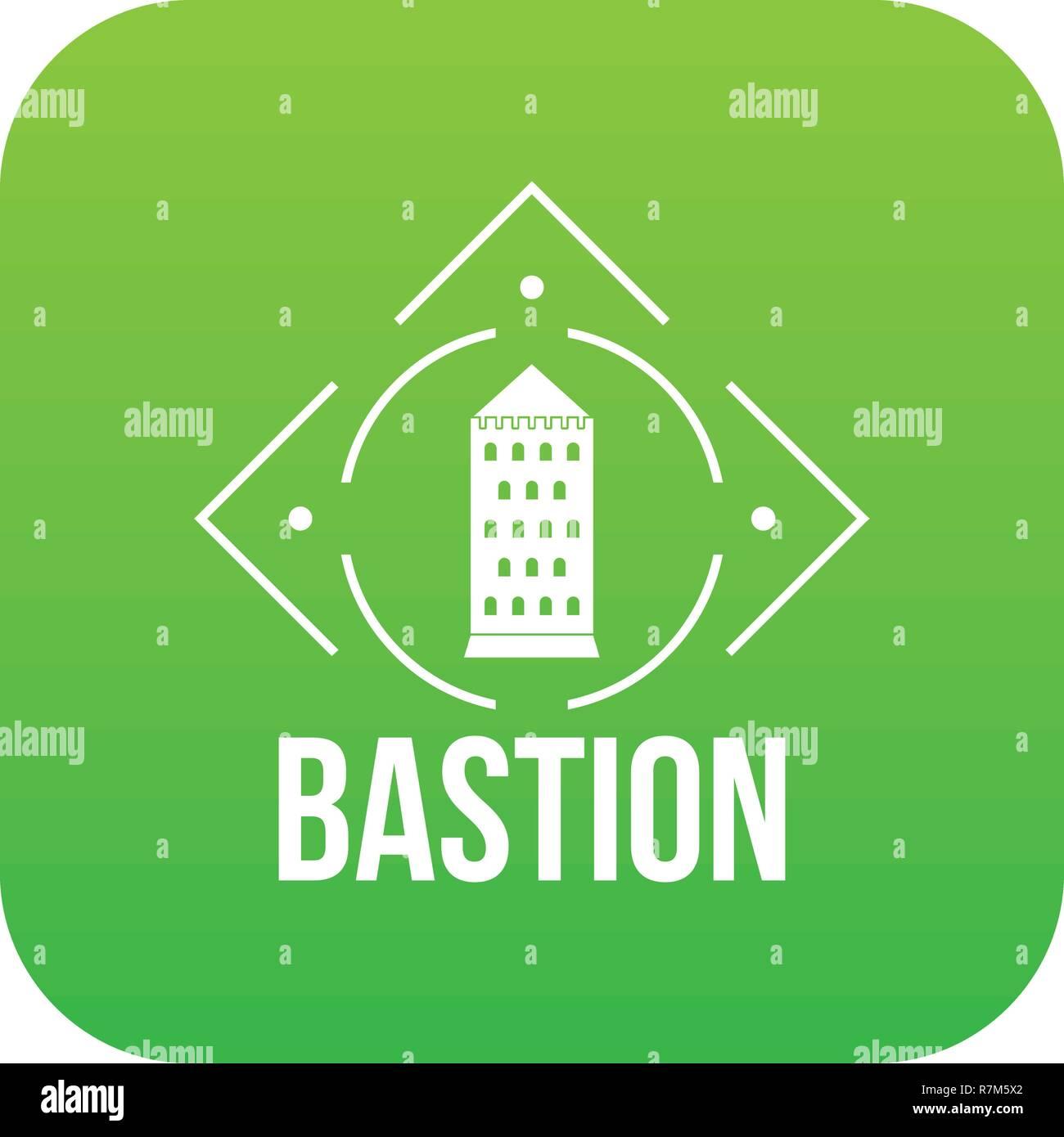 Bastion icon green vector - Stock Vector