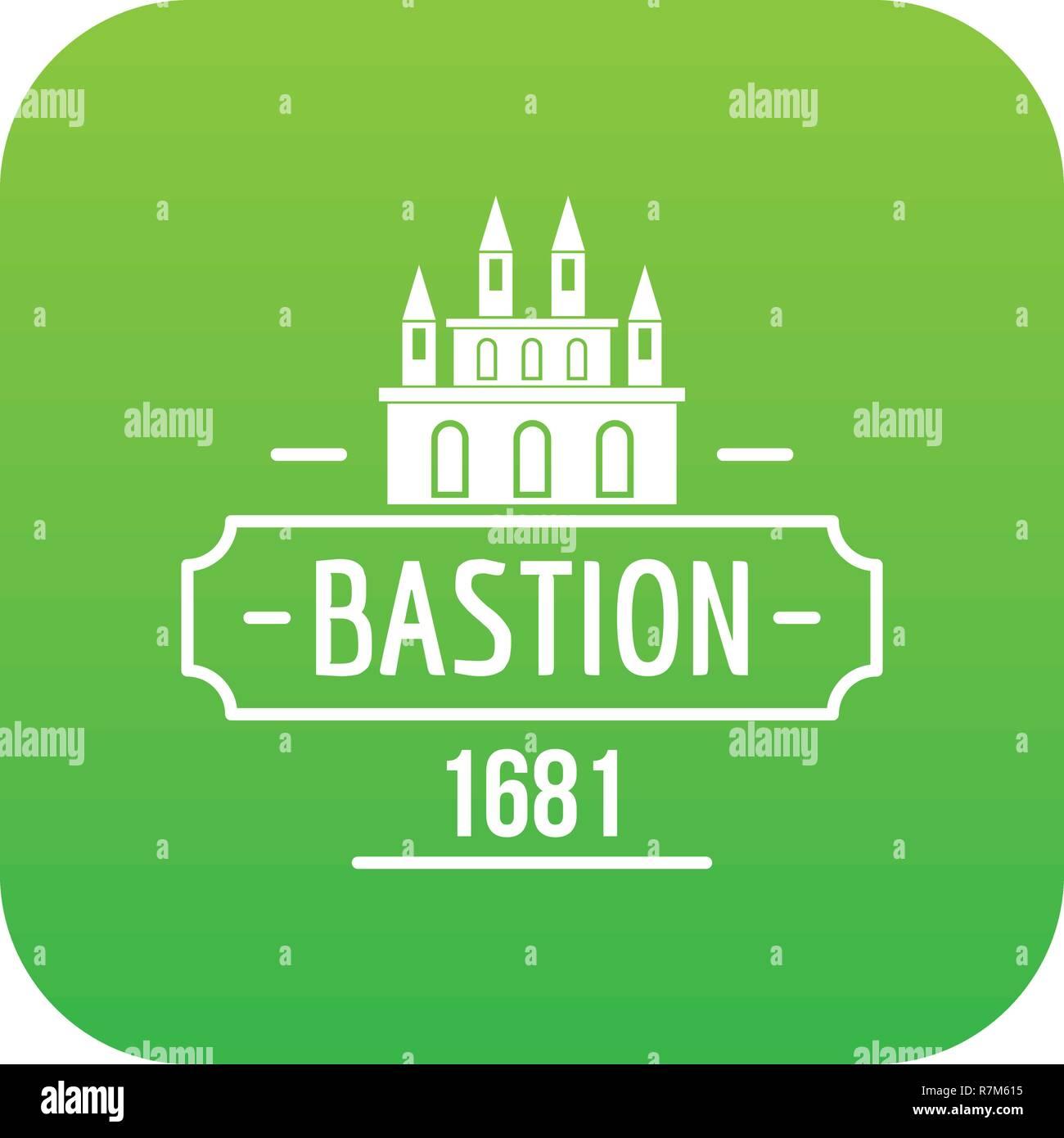 Royal bastion icon green vector - Stock Vector