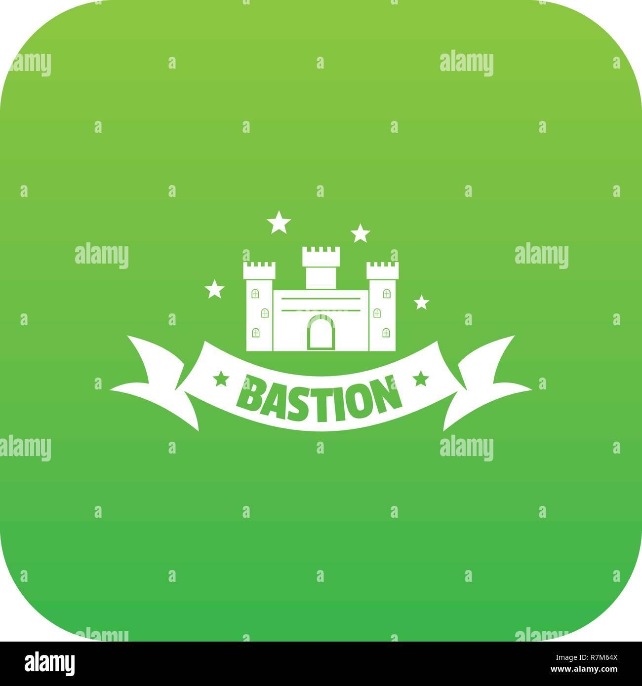 Building bastion icon green vector - Stock Vector