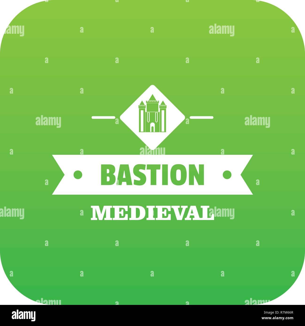 Victorian bastion icon green vector - Stock Vector