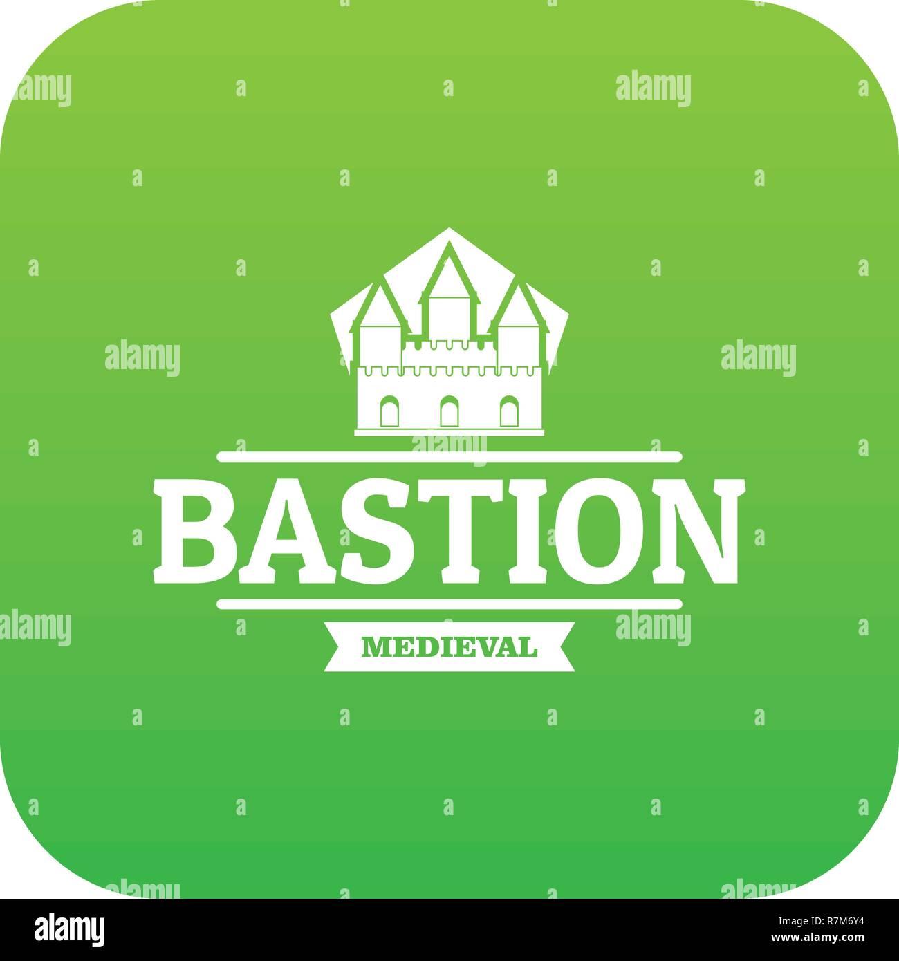 Bastion medieval icon green vector - Stock Vector