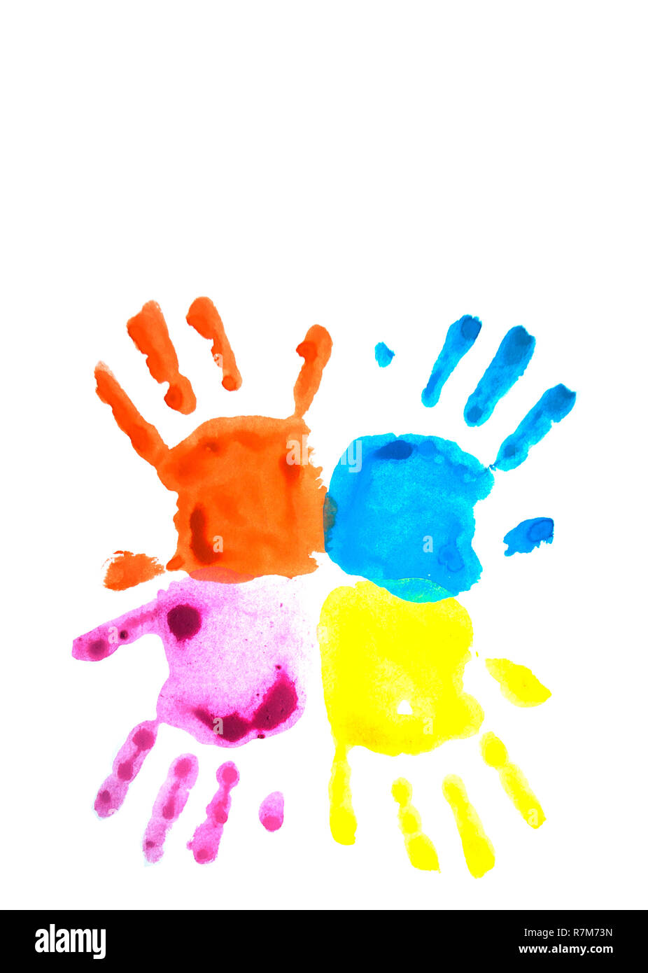 Four colorful child's handprints isolated on white with copyspace. World autism awareness day concept. - Stock Image