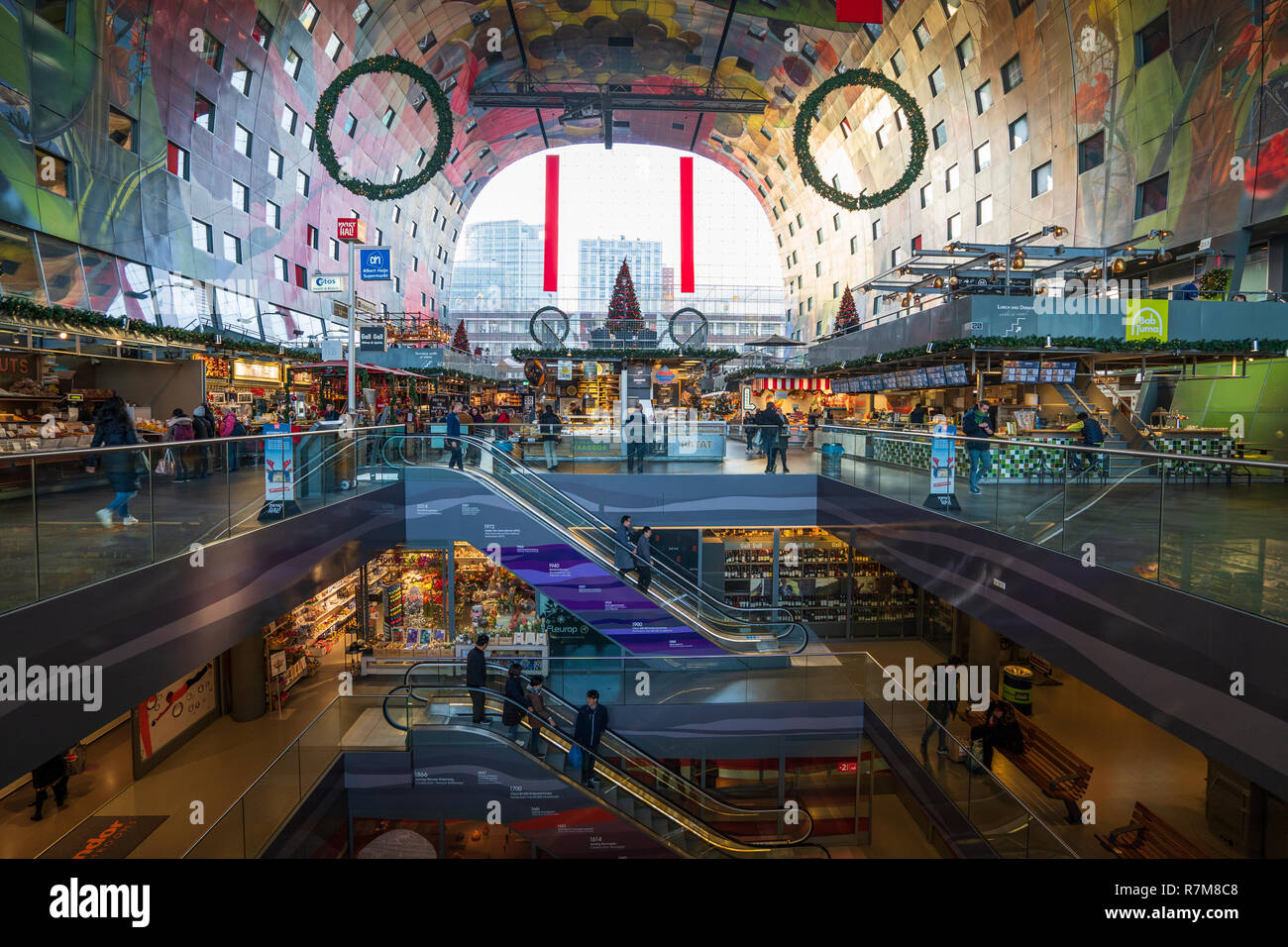 The modern residential and commercial property development, Markthal , Market Hall, in Rotterdam, The Netherlands Stock Photo