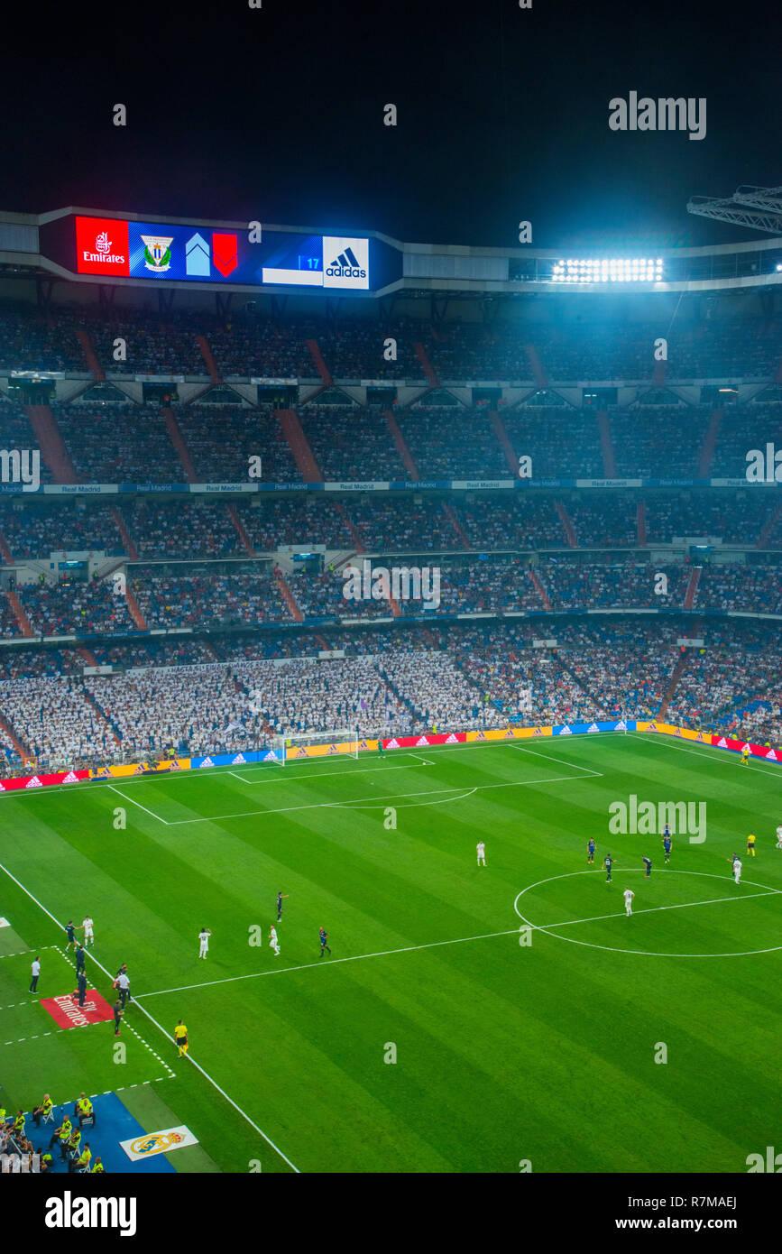 Football match. Santiago Bernabeu stadium, Madrid, Spain. - Stock Image