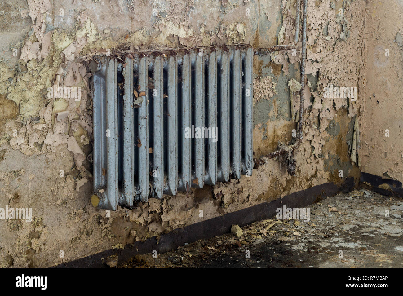 Old heating after water damage - Stock Image