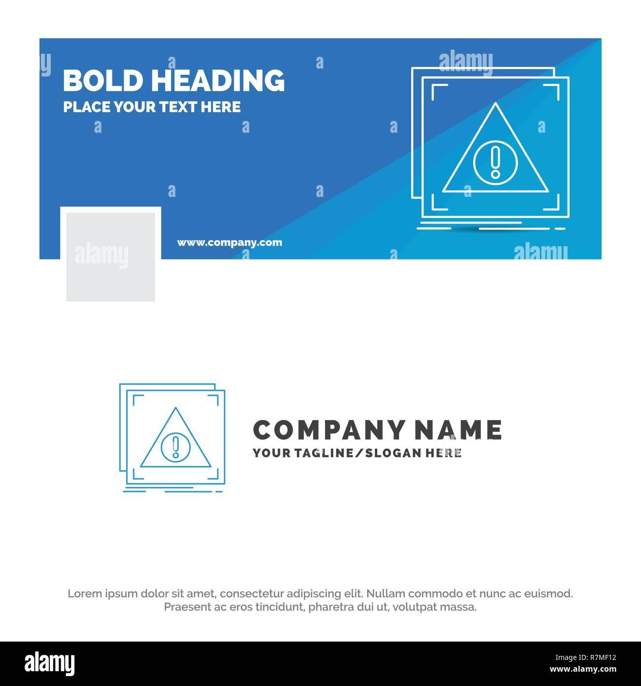 Blue Business Logo Template for Error, Application, Denied, server, alert. Facebook Timeline Banner Design. vector web banner background illustration - Stock Image