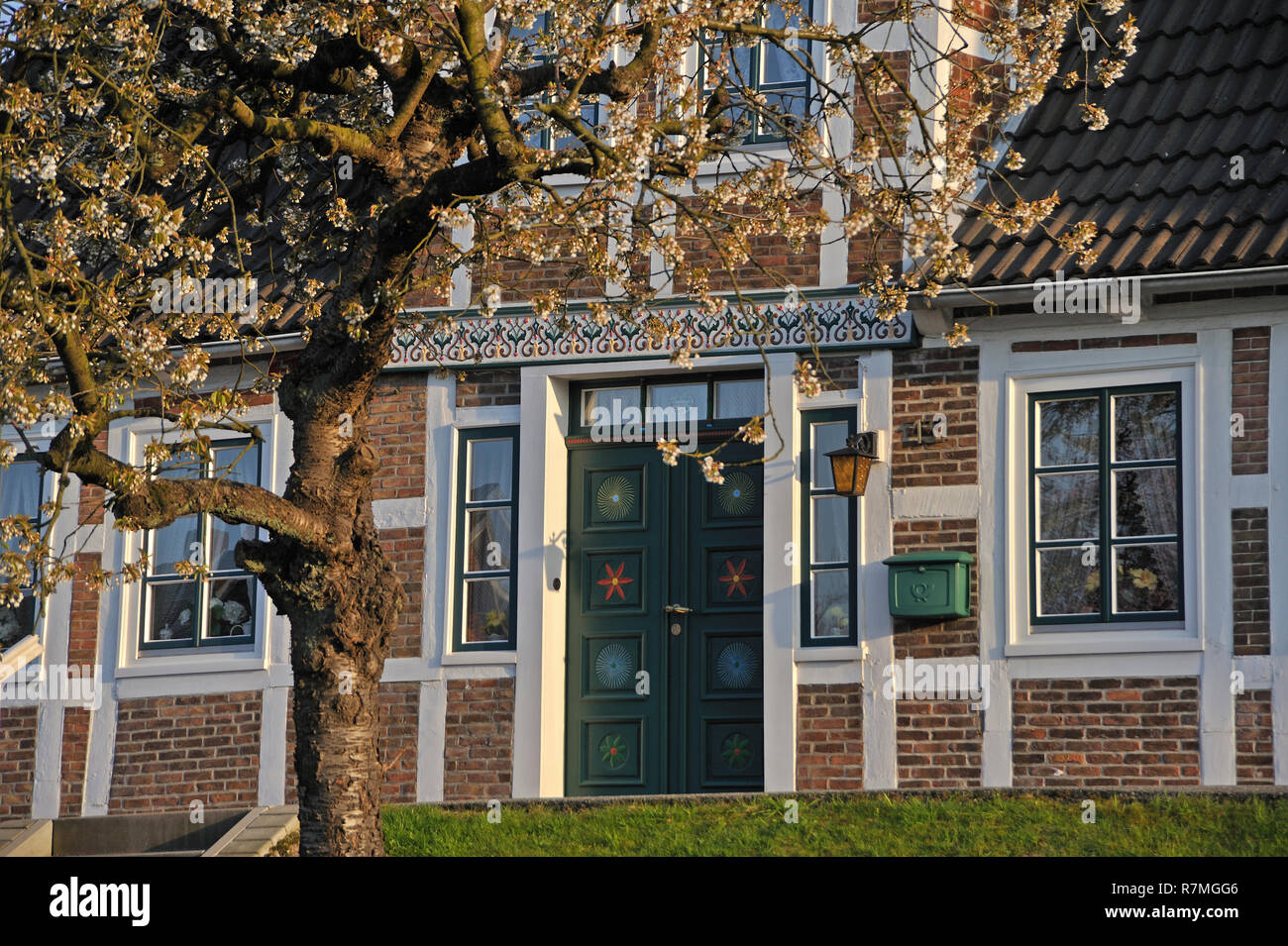 Altländer Bauernhaus in Steinkirchen, Alte Land, Landkreis Stade, Niedersachsen, Deutschland - Stock Image