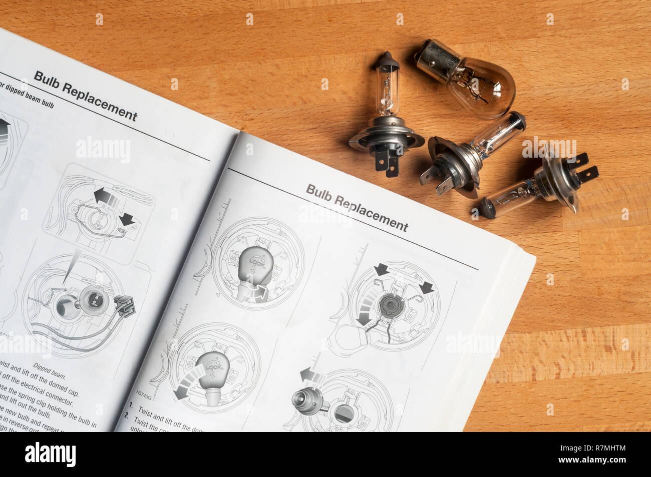 Car maintenance - changing headlamp bulbs - Stock Image