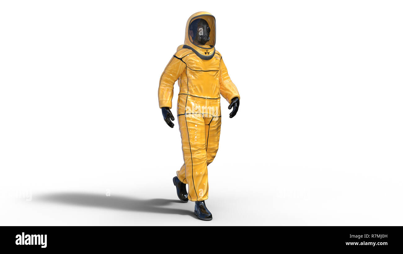 Man wearing biohazard protective outfit, human with gas mask dressed in hazmat suit for toxic and chemicals protection, 3D rendering - Stock Image