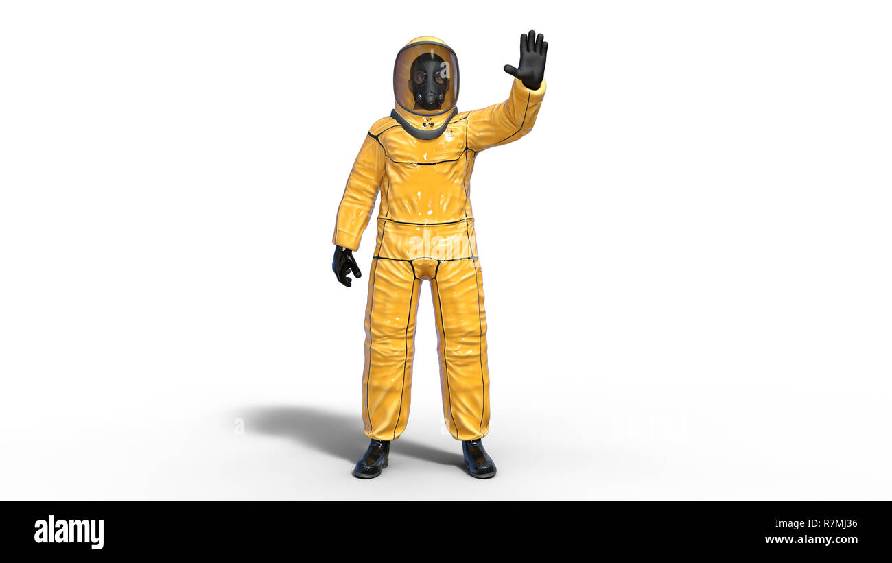 Man in biohazard protective outfit waving, human with gas mask dressed in hazmat suit for toxic and chemicals protection, 3D rendering - Stock Image