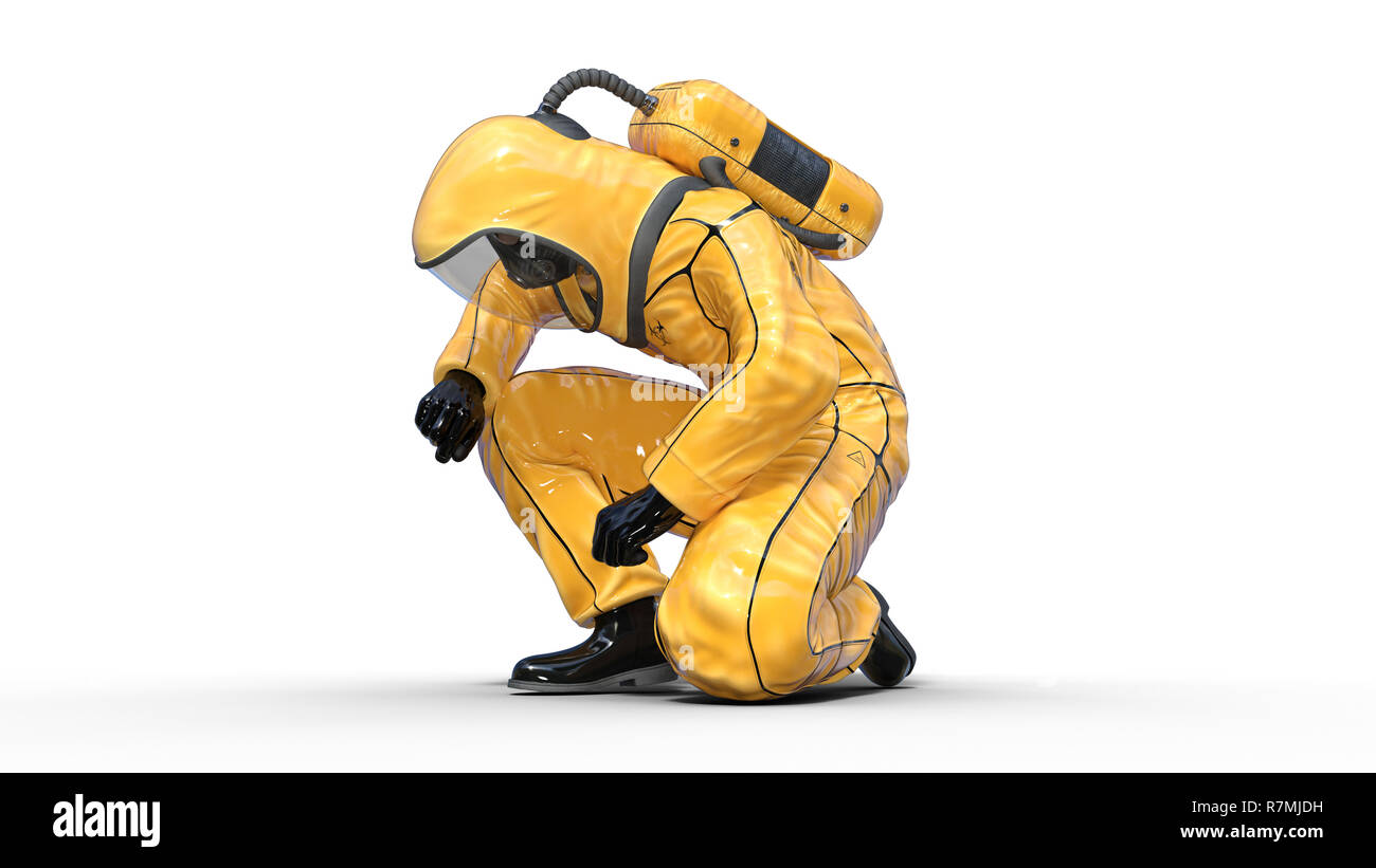 Man in biohazard protective outfit kneeling, human with gas mask dressed in hazmat suit for toxic and chemicals protection, 3D rendering Stock Photo