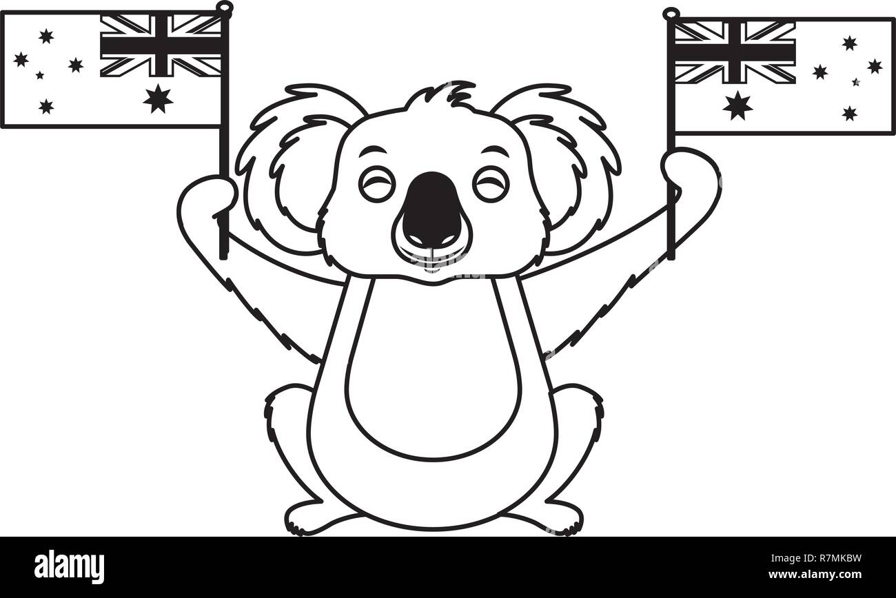 cute koala with two australian flags - Stock Vector
