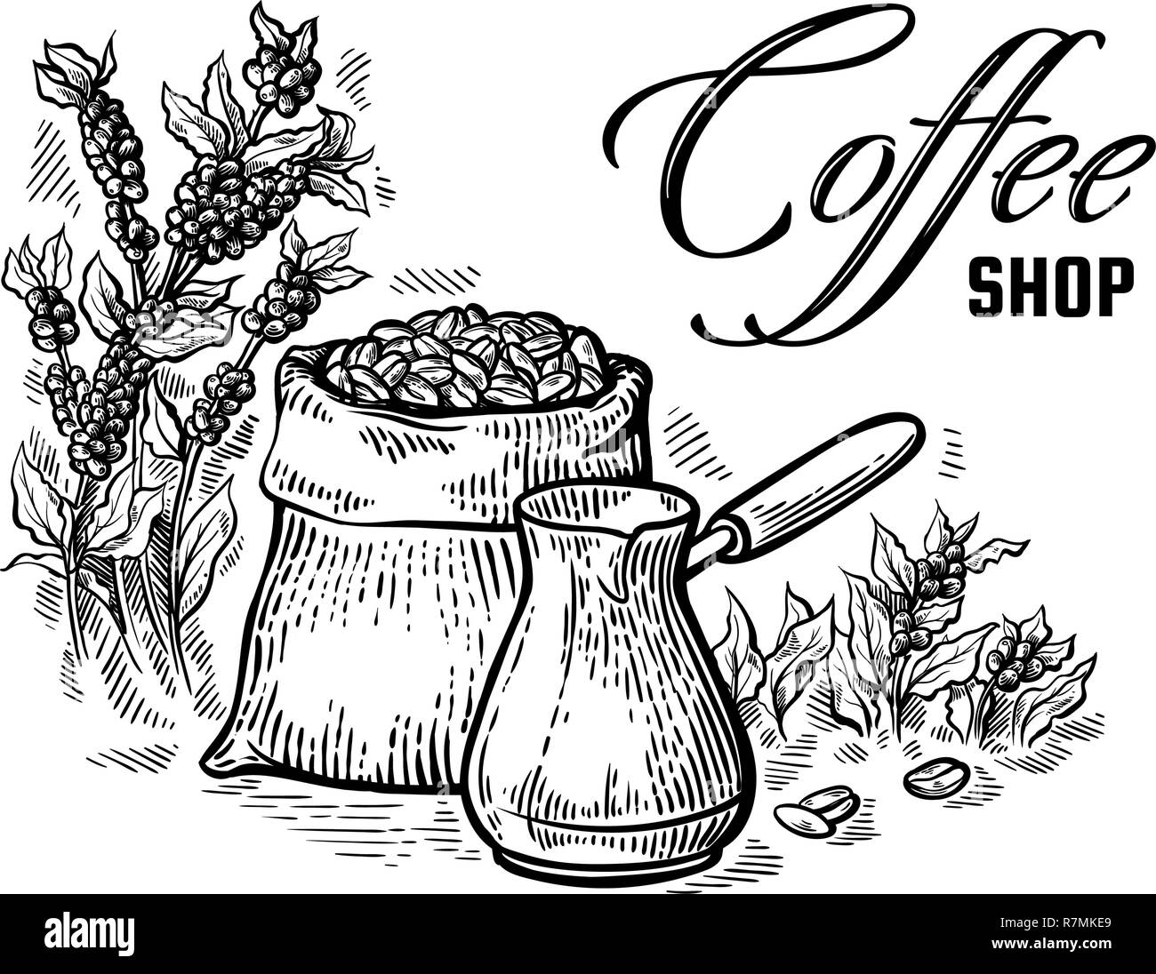 coffee beans in full bag and coffeepot in graphic style vector illustration - Stock Image