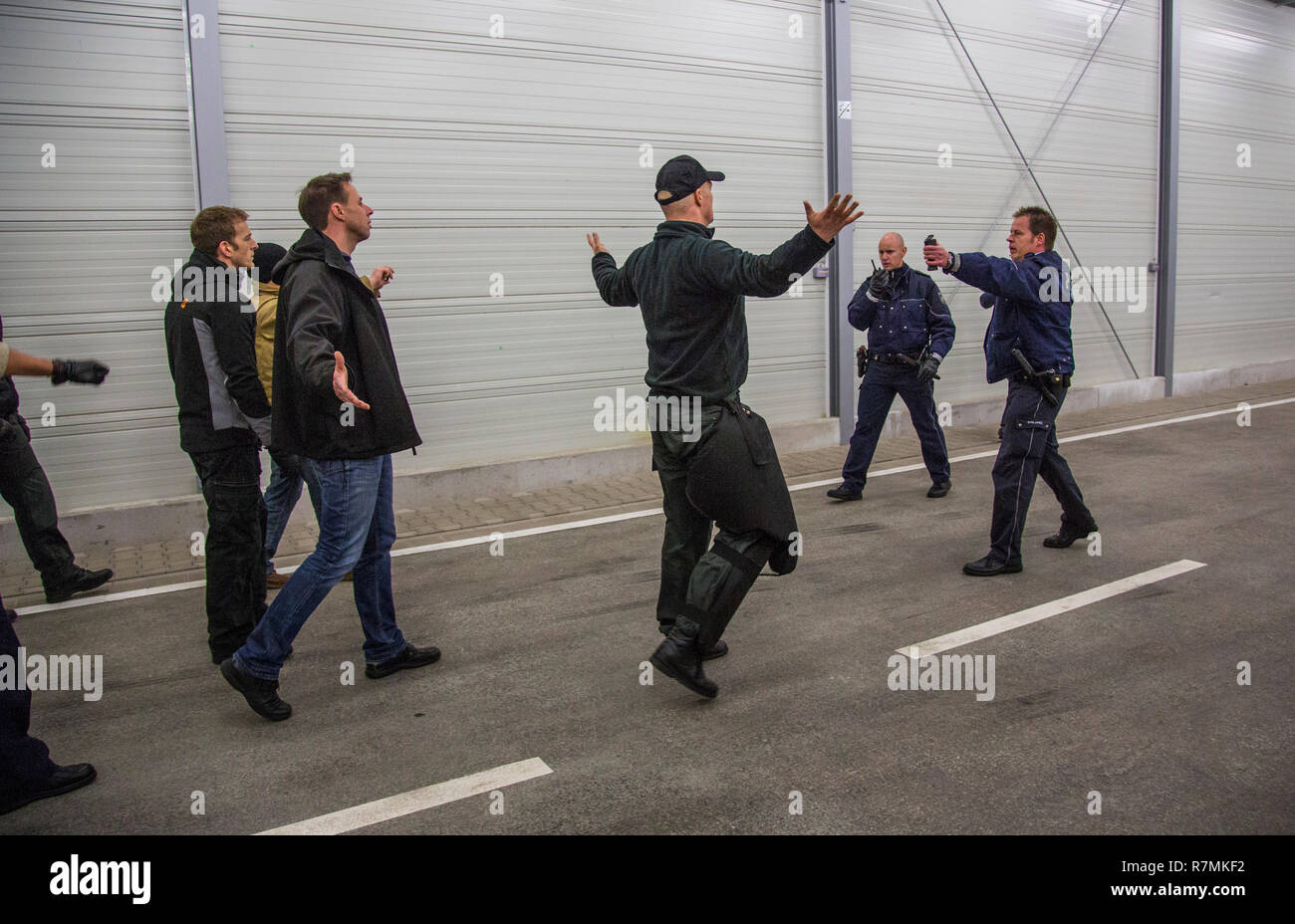 Operational tactics training for the police, handling of violent combat situations, firearms training, Regional Police Training - Stock Image