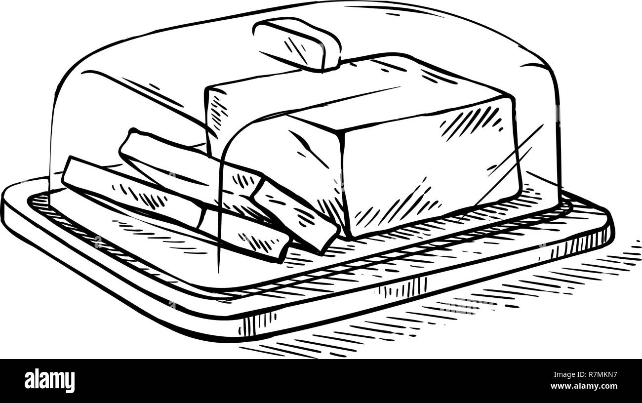 Hand drawn sketch slice of butter on the wooden broad vector