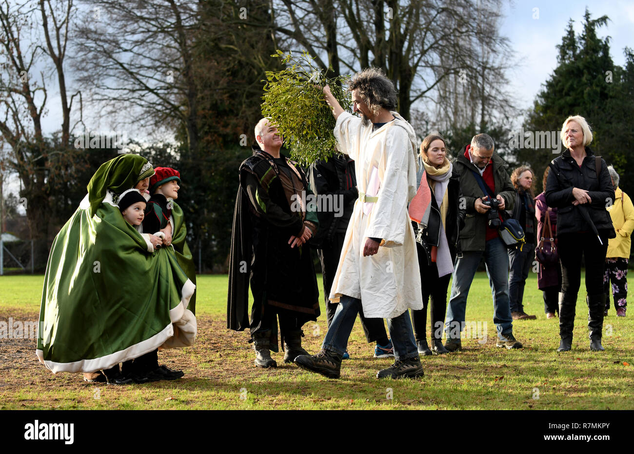 Druids blessing of the mistletoe ceremony at Tenbury Wells, Worcestershire known as the capital of English mistletoe. DAVE BAGNALL PHOTOGRAPHY - Stock Image