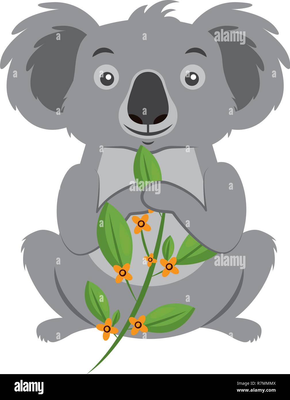 koala eating branch eucalyptus - Stock Vector
