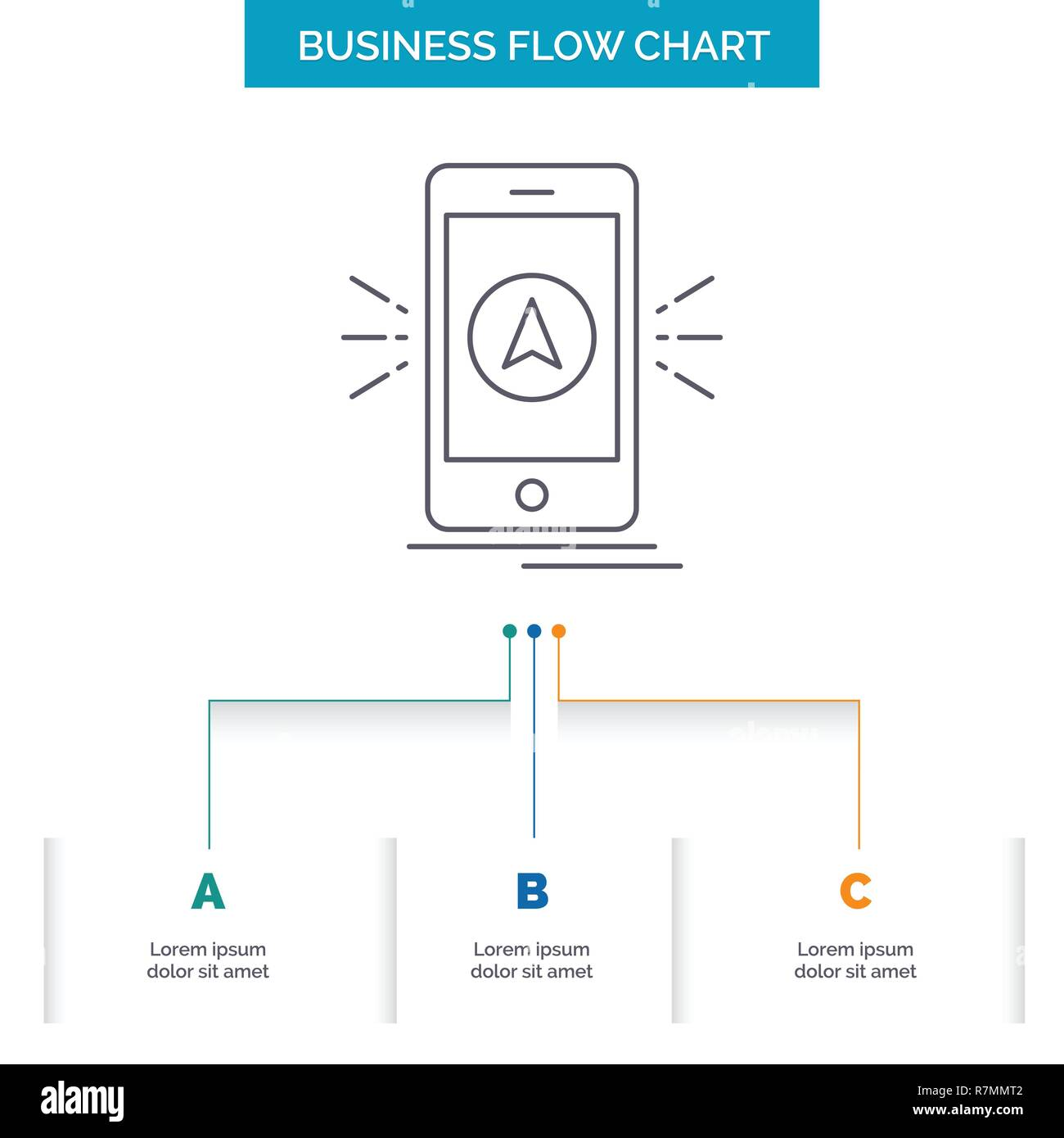 navigation, app, camping, gps, location Business Flow Chart Design with 3 Steps. Line Icon For Presentation Background Template Place for text - Stock Image