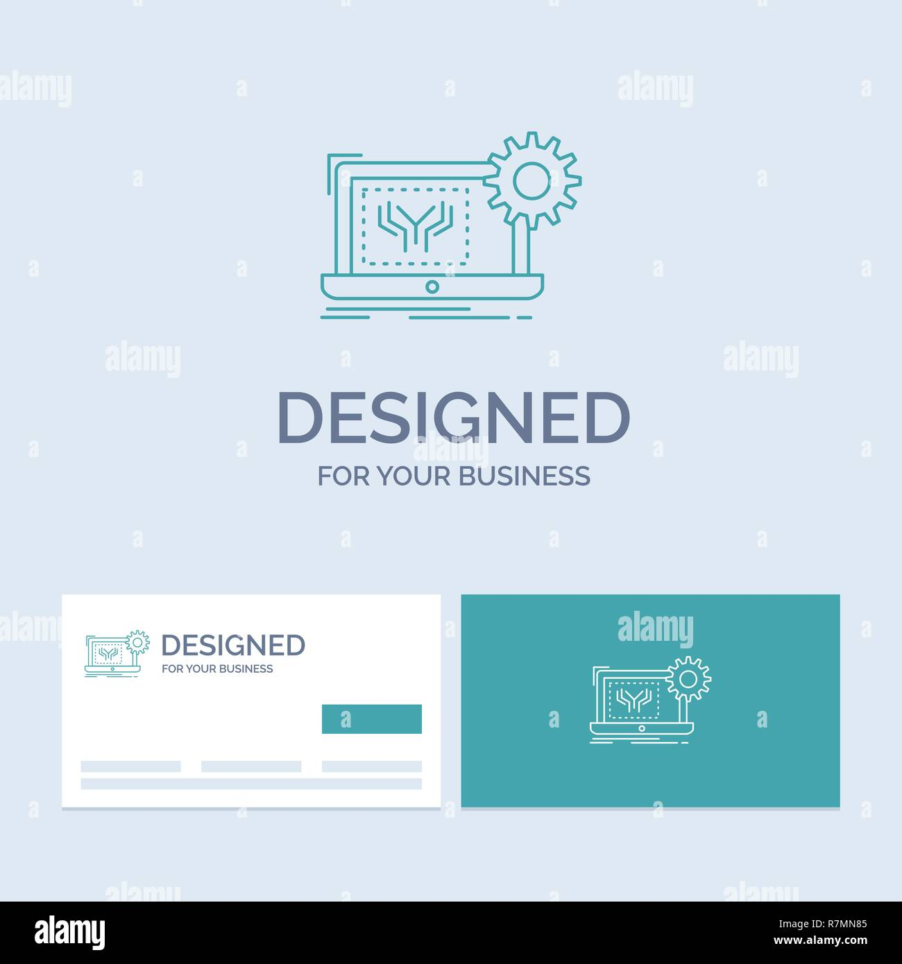 Blueprint, circuit, electronics, engineering, hardware Business Logo Line Icon Symbol for your business. Turquoise Business Cards with Brand logo temp - Stock Image