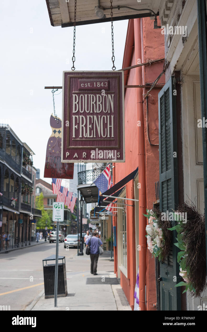 Bourbon French Parfums shop sign, Royal Street, New Orleans, Louisiana - Stock Image