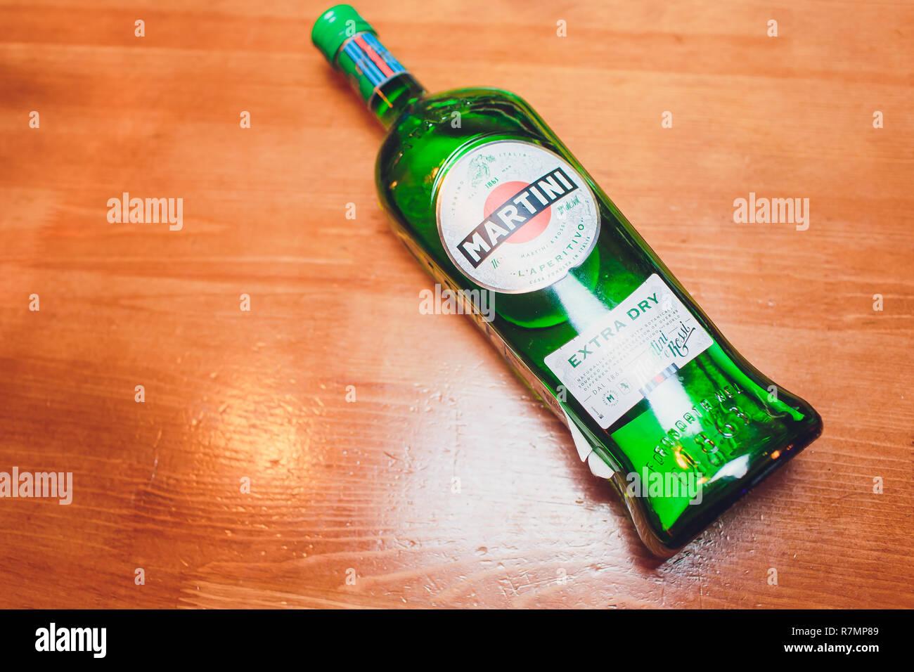 Ufa, Russia, Darling Bar, 20 November, 2018: Martini Vermouth, Bianco. Martini is a brand of Italian vermouth, named after the Martini Rossi Distilleria Nazionale di Spirito di Vino. - Stock Image