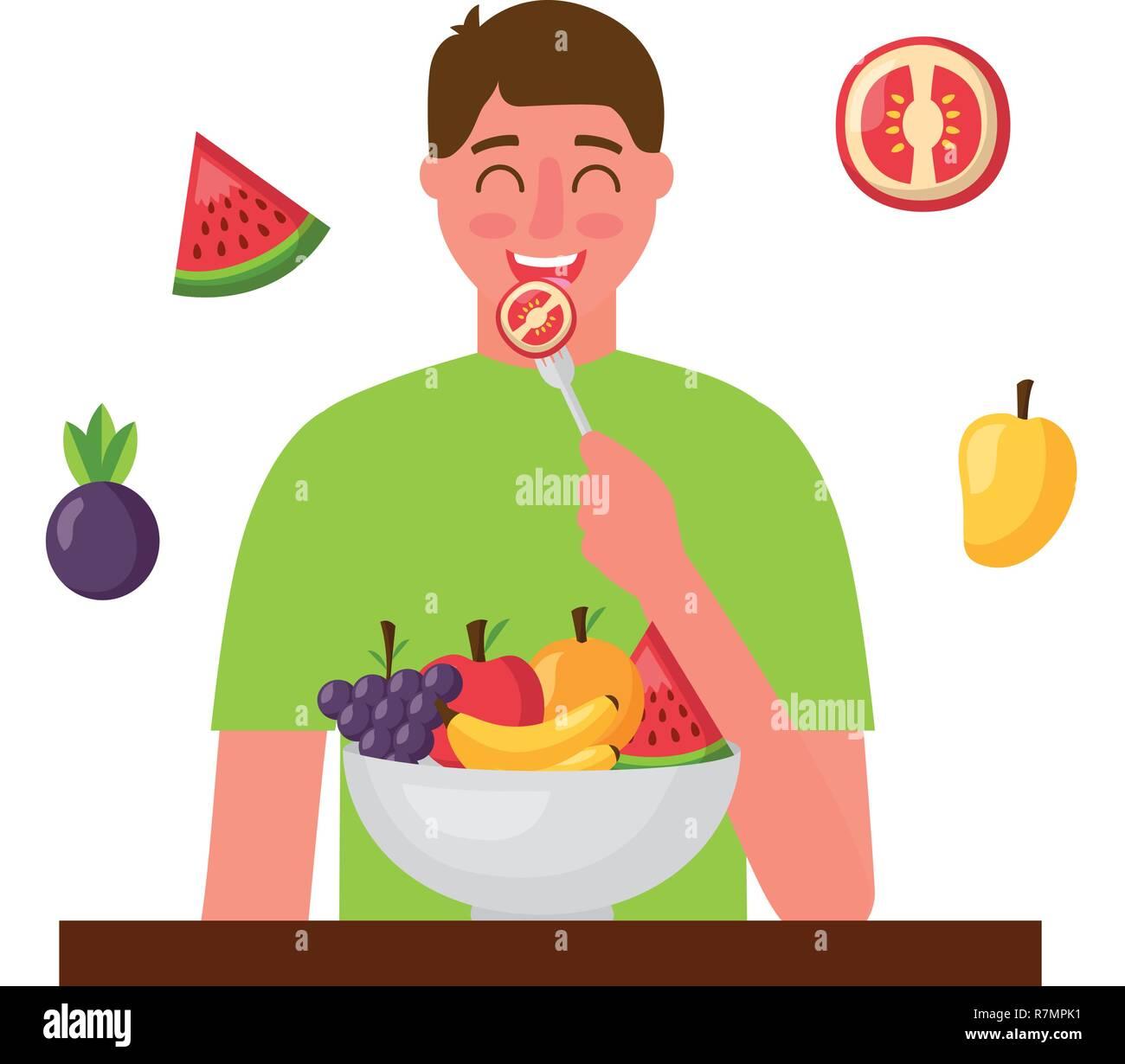 Man Eating Tomato Healthy Food Stock Vector Image Art Alamy