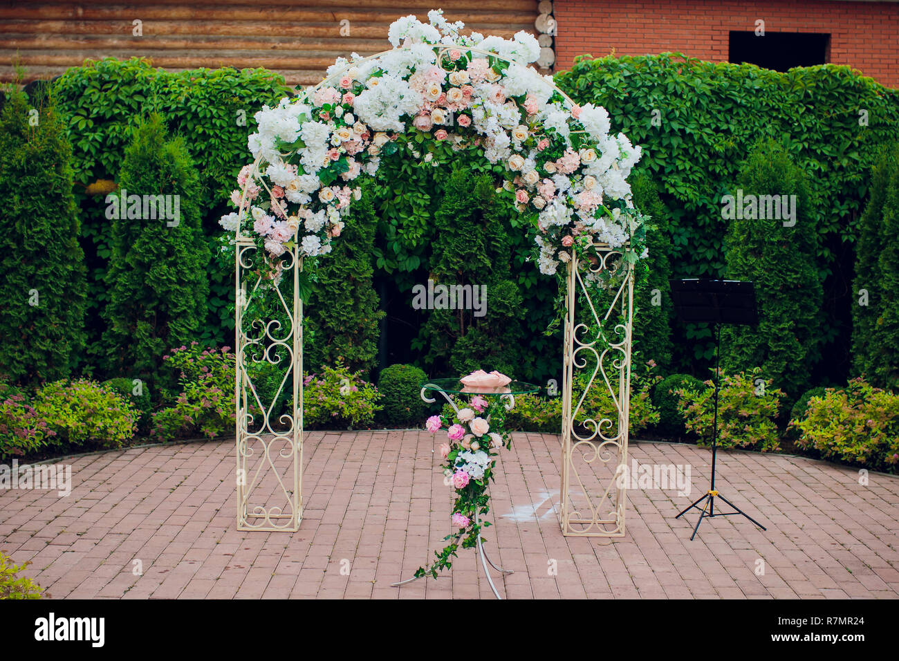 Open Air Wedding Ceremony With Eucalyptus Wedding Arch Decorated