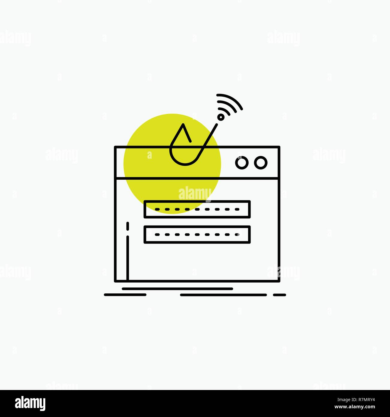 fraud, internet, login, password, theft Line Icon Stock Vector