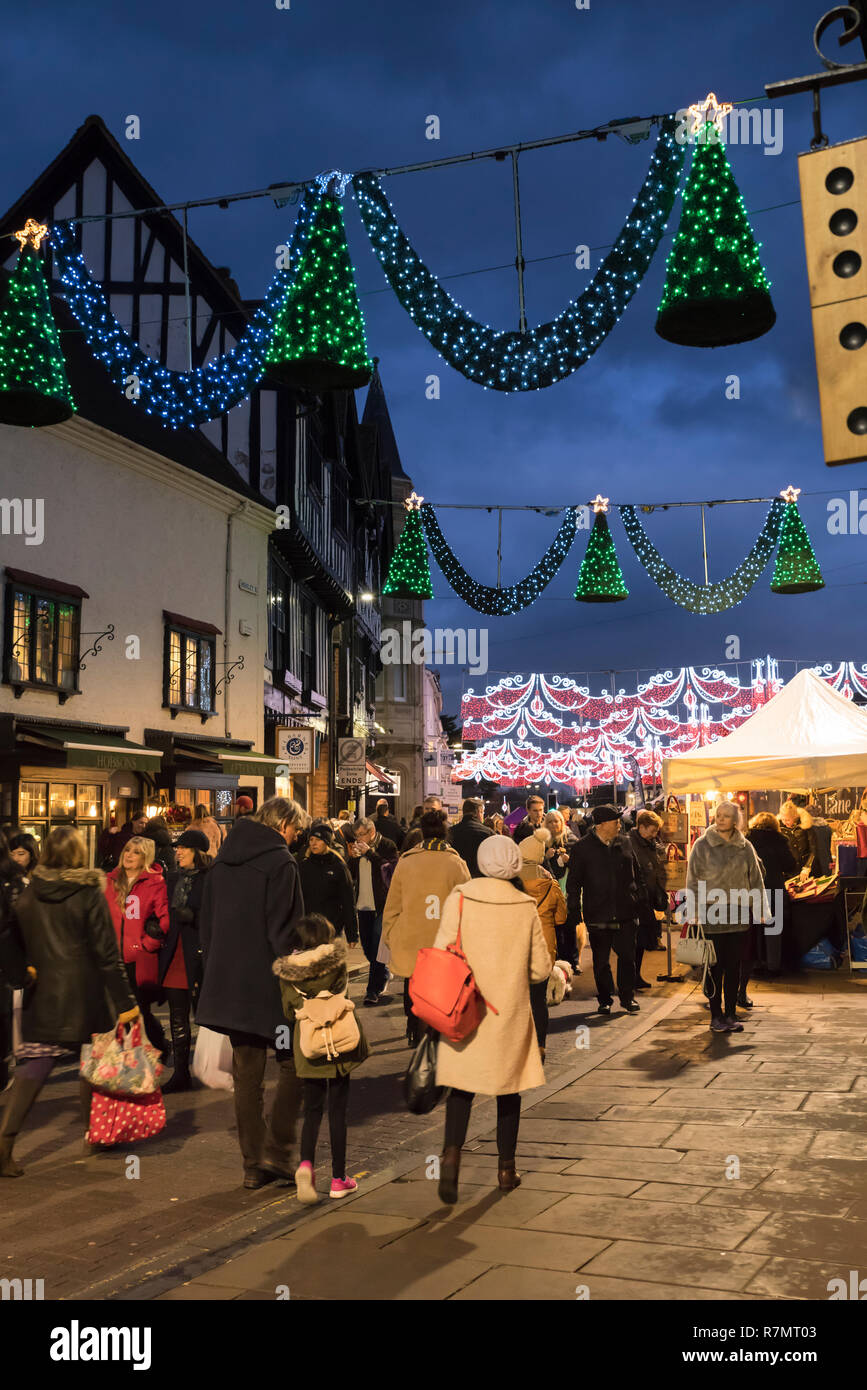 Crowds at the Victorian Christmas Market and lights, Henley Street, Stratford upon Avon, England Stock Photo