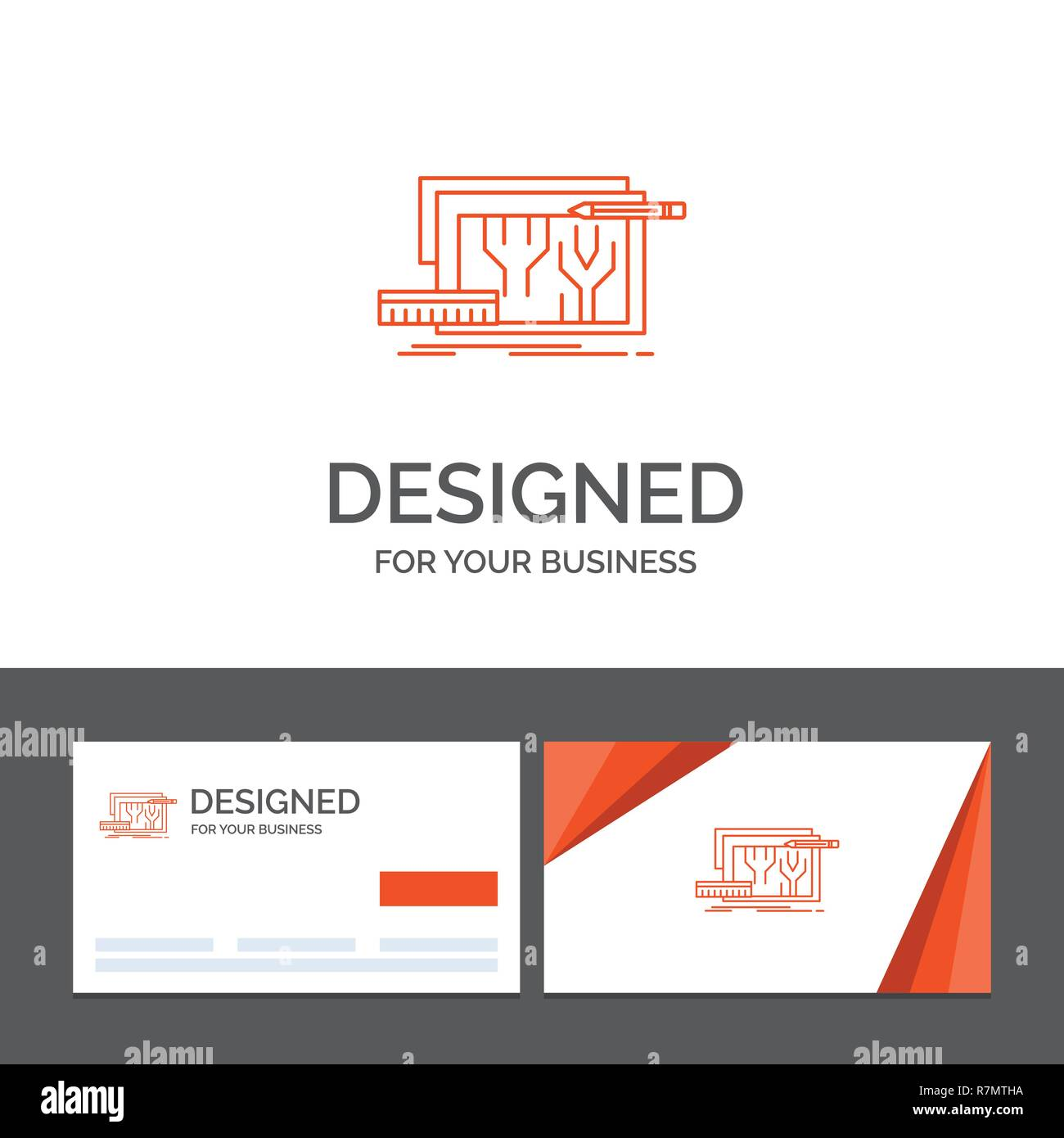 Business logo template for Architecture, blueprint, circuit, design, engineering. Orange Visiting Cards with Brand logo template - Stock Image