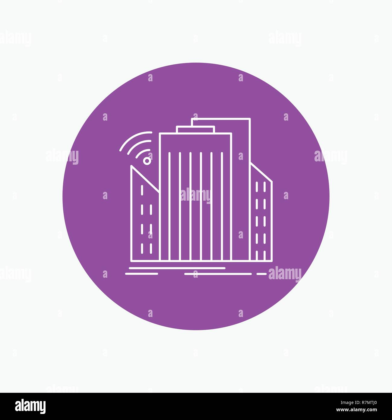 Buildings, city, sensor, smart, urban White Line Icon in Circle background. vector icon illustration - Stock Vector