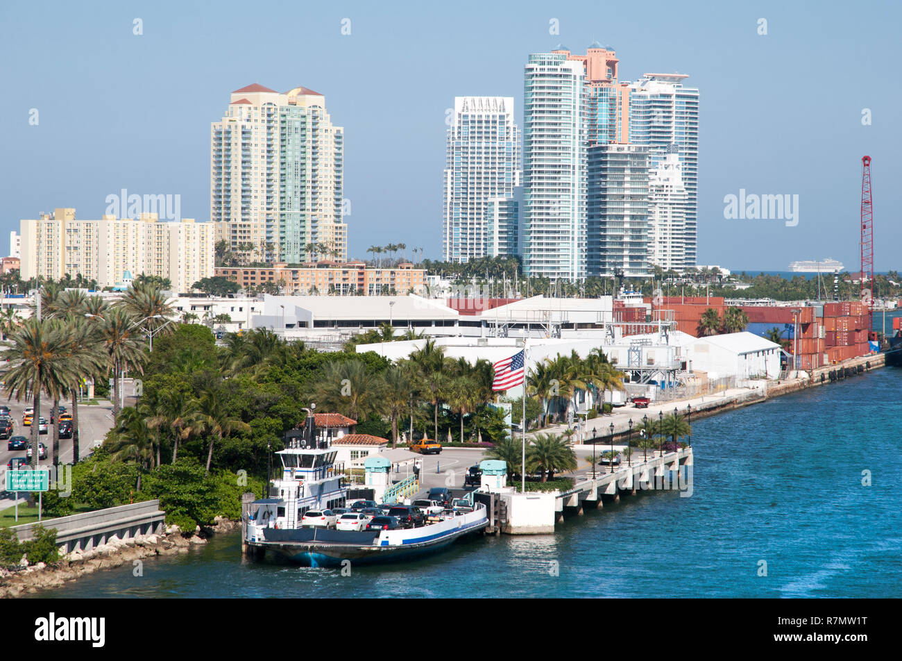 The ferryboat ready to depart, the transportation between Miami and Fisher island (Florida). - Stock Image