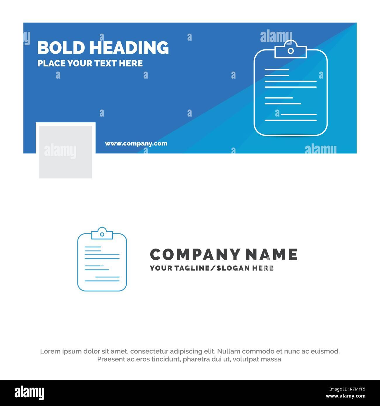 Blue Business Logo Template For Report Medical Paper Checklist Document Facebook Timeline Banner Design Vector Web Background Illustratio