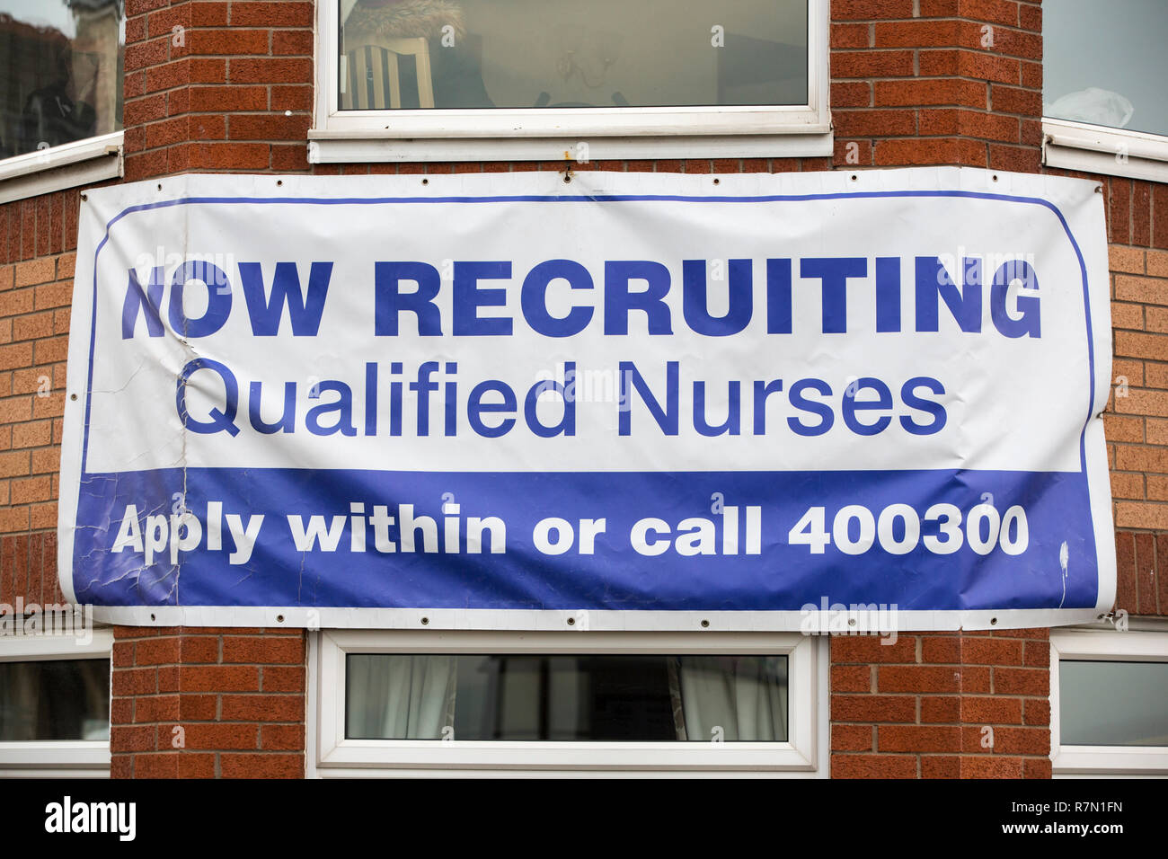 An advert for nurse recruitment on a nursing home in Morecambe, Lancashire, UK. - Stock Image