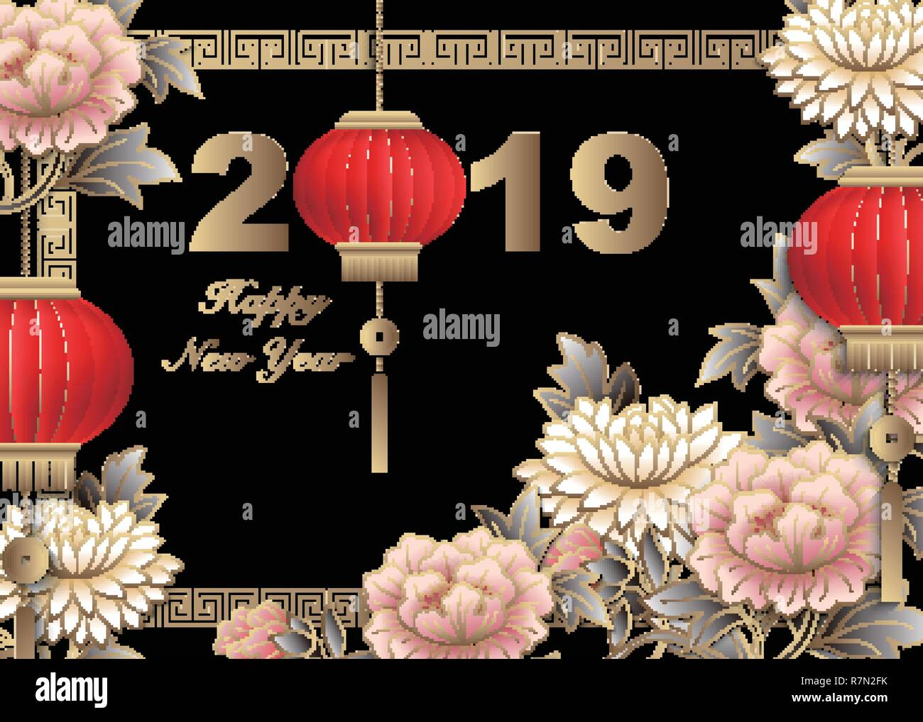 4d3665436 Happy Chinese new year 2019 retro gold pink relief peony flower lantern and  lattice frame. Idea for greeting card, web banner design.