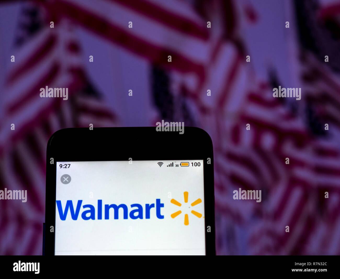 Walmart Stock Phone Number >> Walmart Logo Seen Displayed On Smart Phone Stock Photo