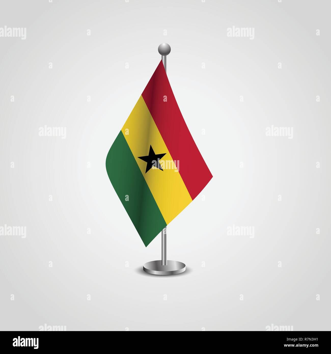 Ghana Flag Pole - Stock Vector