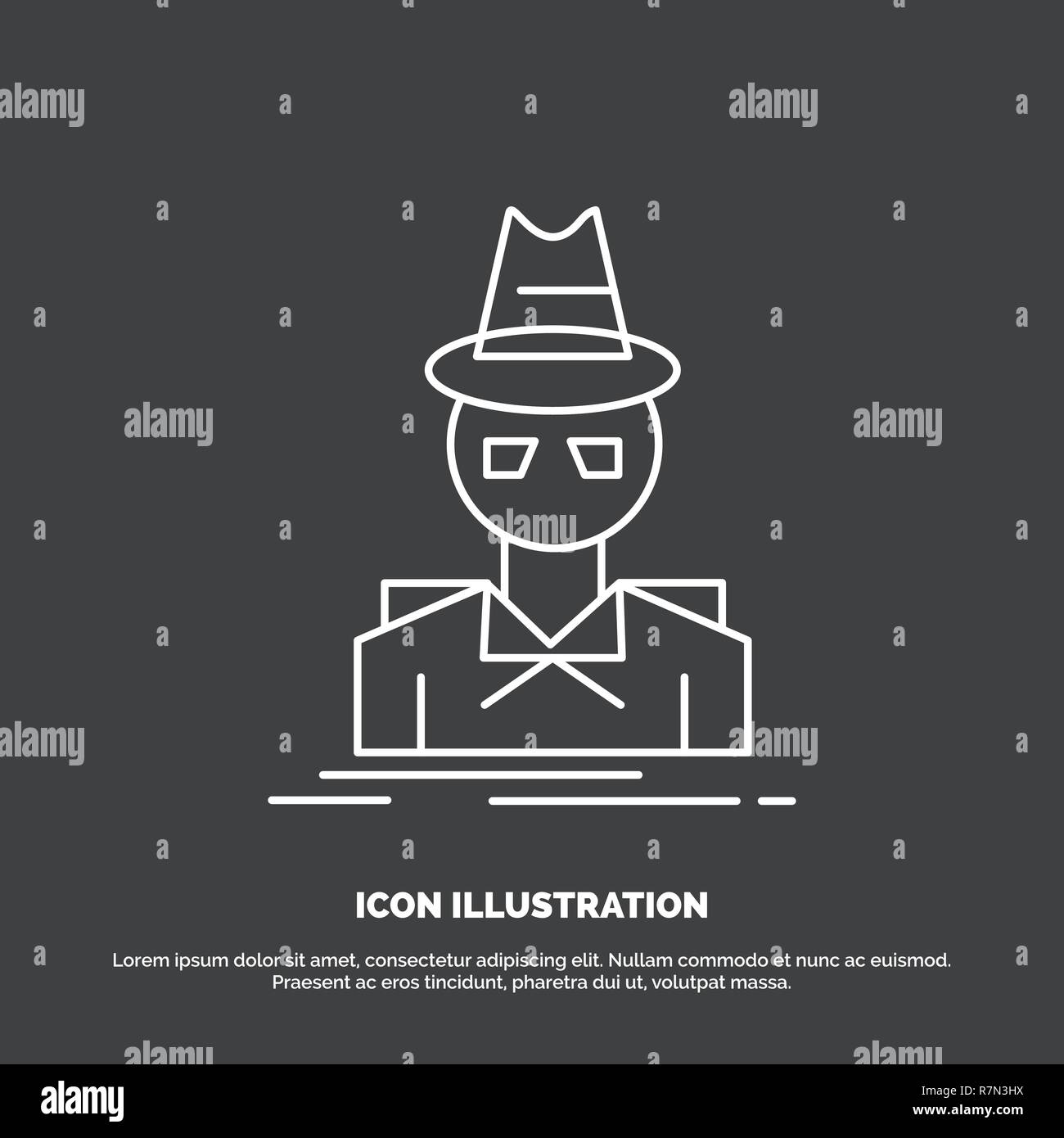 38431a68 Detective, hacker, incognito, spy, thief Icon. Line vector symbol for UI
