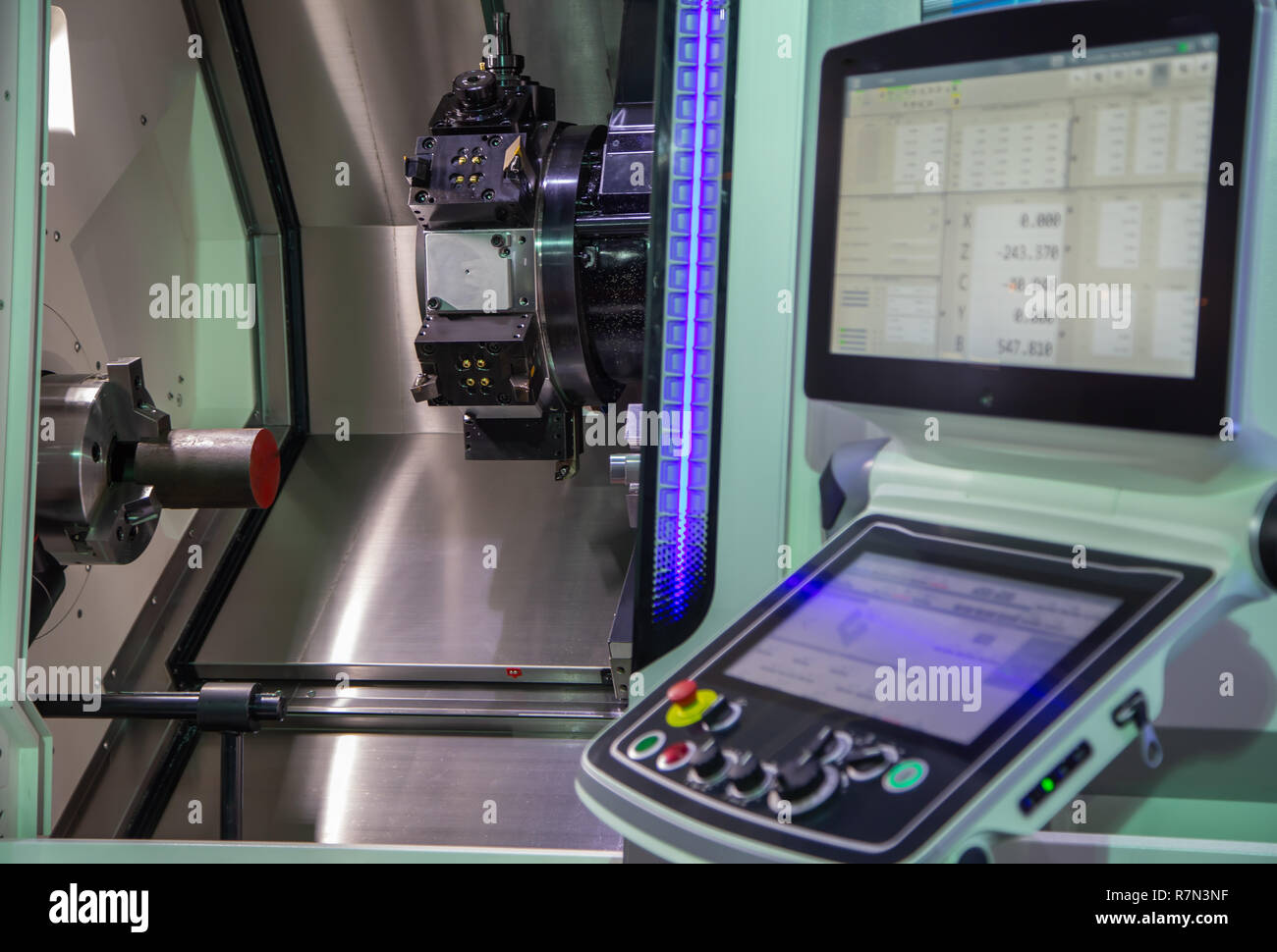 Control panel of industrial machining CNC Lathing machine - Stock Image