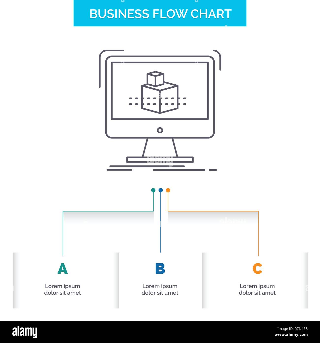 3d, cube, dimensional, modelling, sketch Business Flow Chart Design with 3 Steps. Line Icon For Presentation Background Template Place for text - Stock Vector