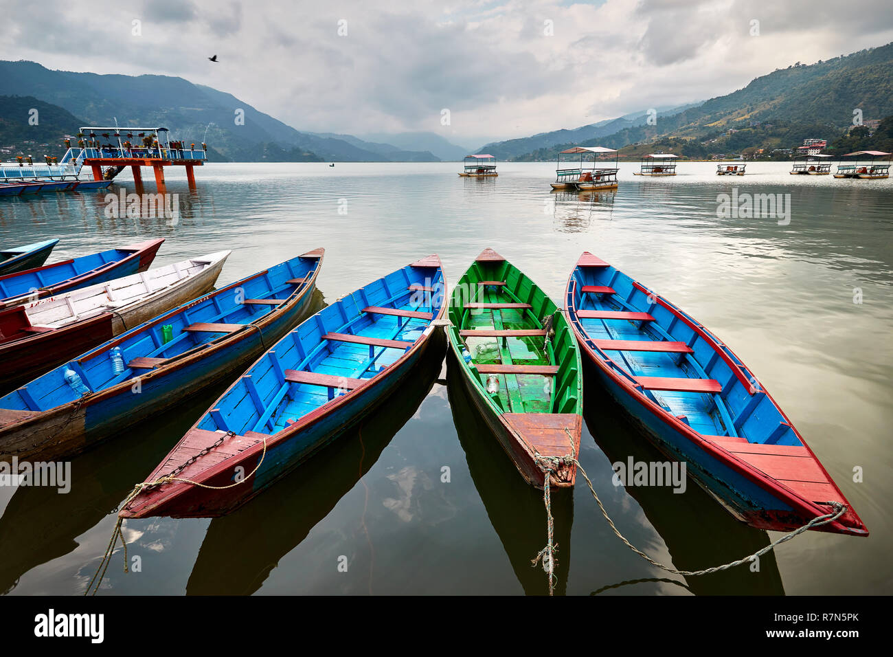 Color boats at Phewa lake shore in Pokhara, Nepal. - Stock Image