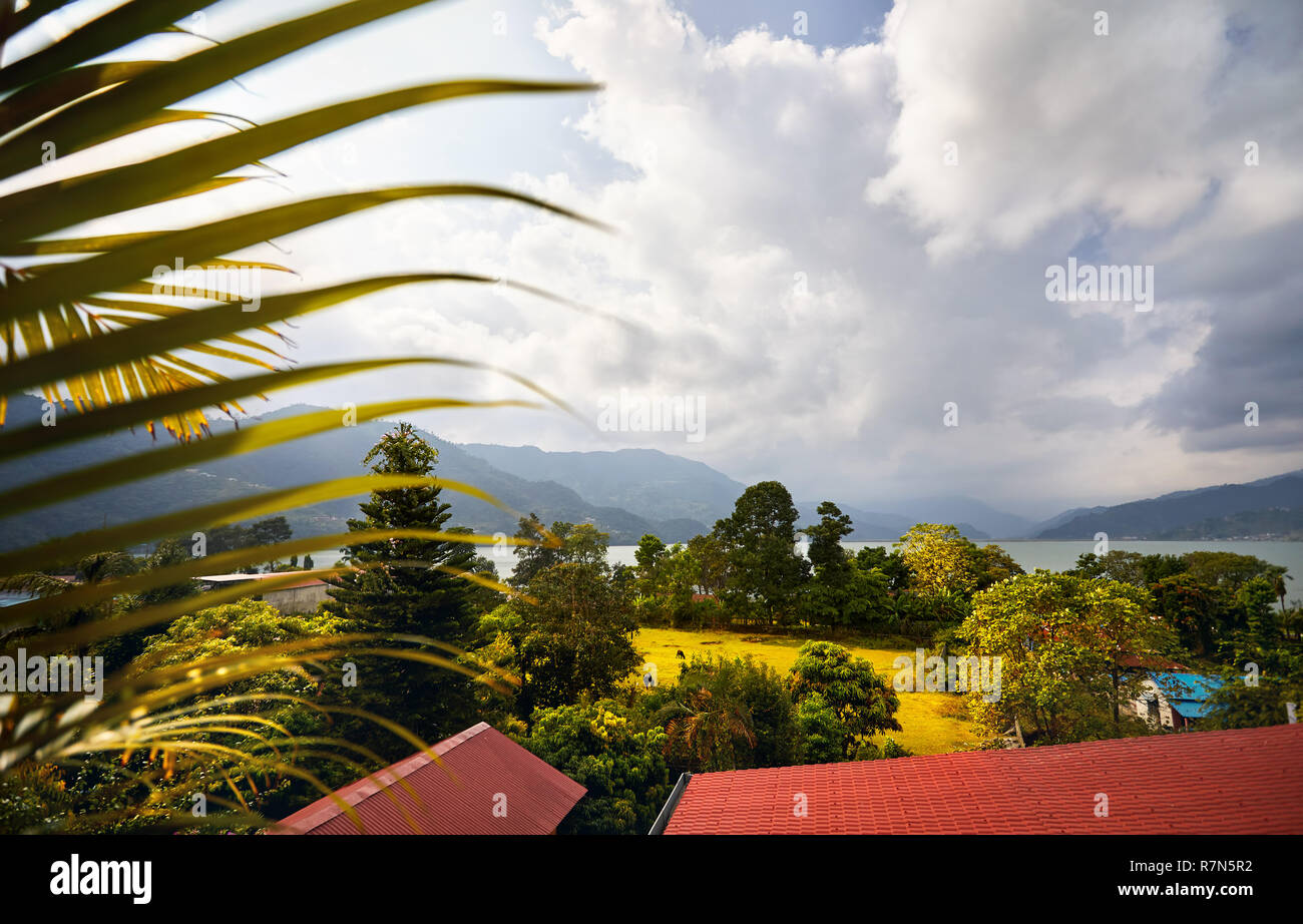 Beautiful view to Phewa lake from hotel in Pokhara, Nepal - Stock Image